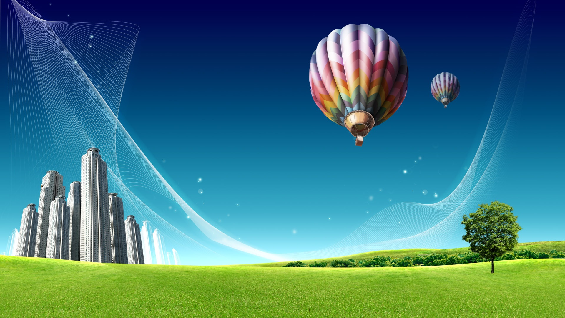 Wallpaper Hot Air Balloon Over The City Prairie 1920x1200 Hd