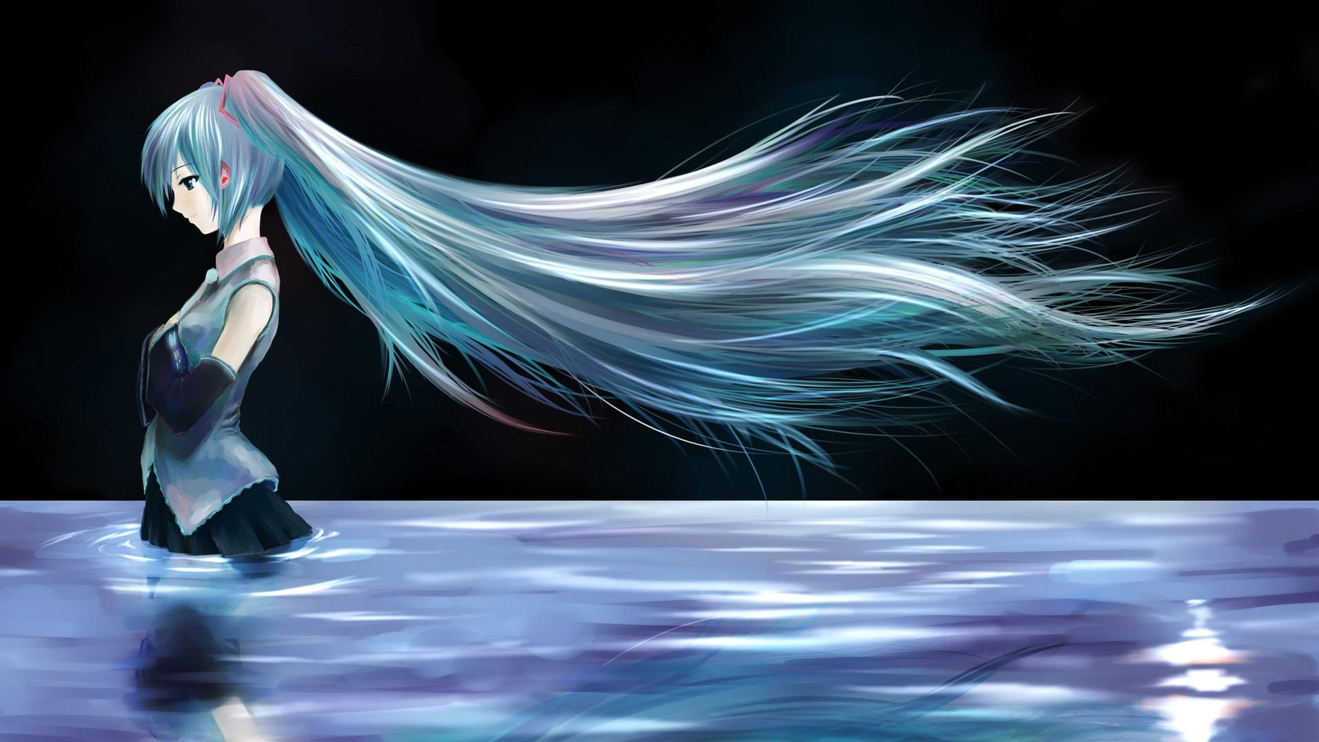 壁紙 水中に立っている青い髪のアニメの女の子 1920x1200 Hd 無料の