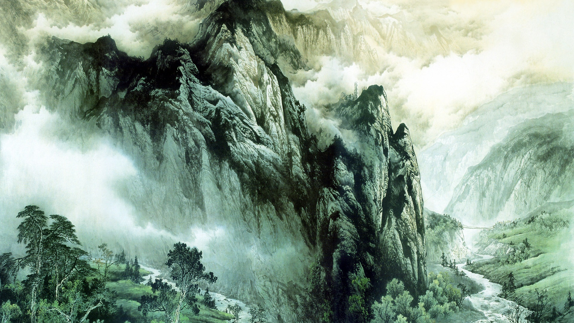 Wallpaper download chinese ink painting mountains and rivers wallpaper