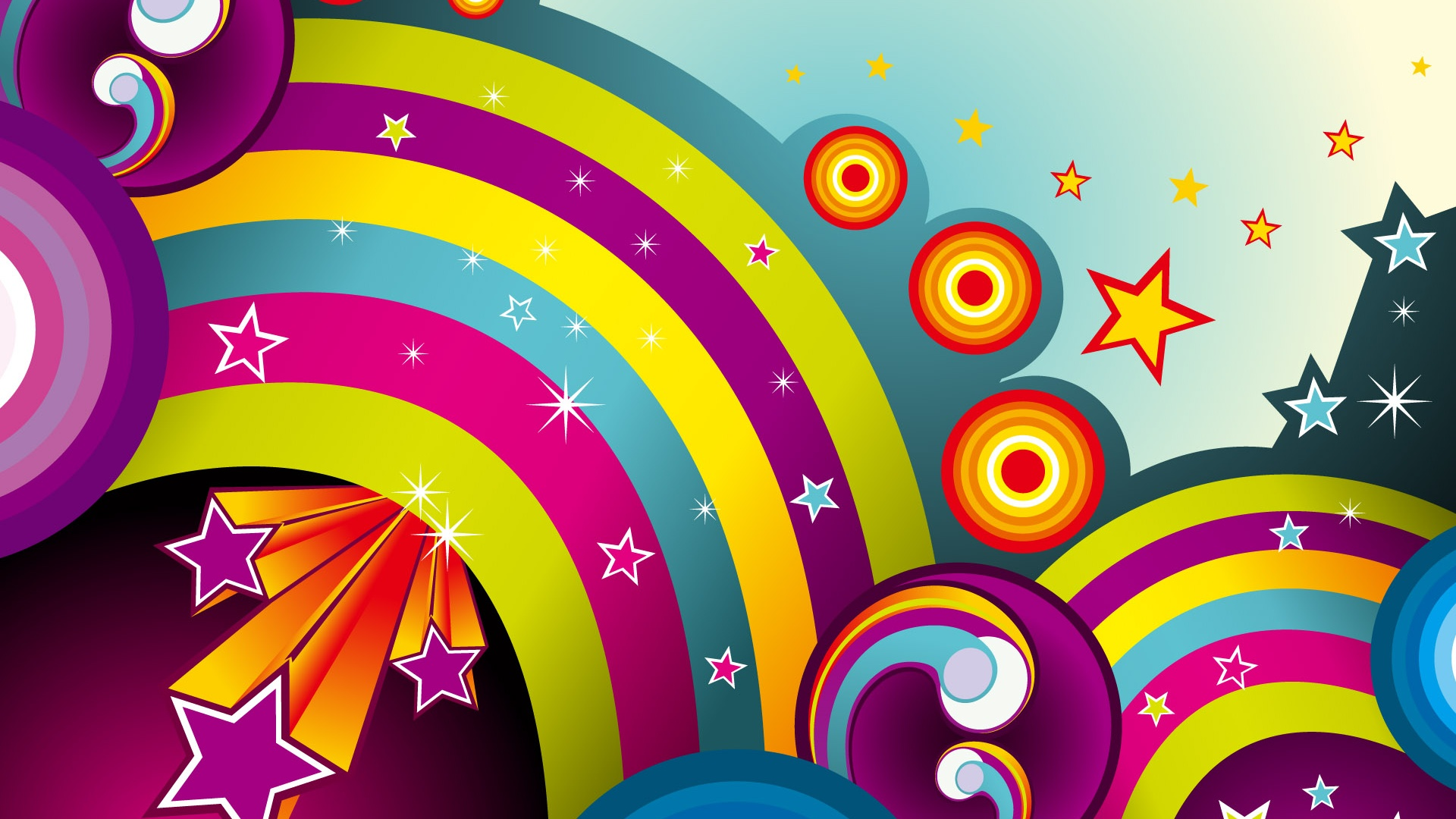 Colorful circle vector wallpaper - 1920x1080