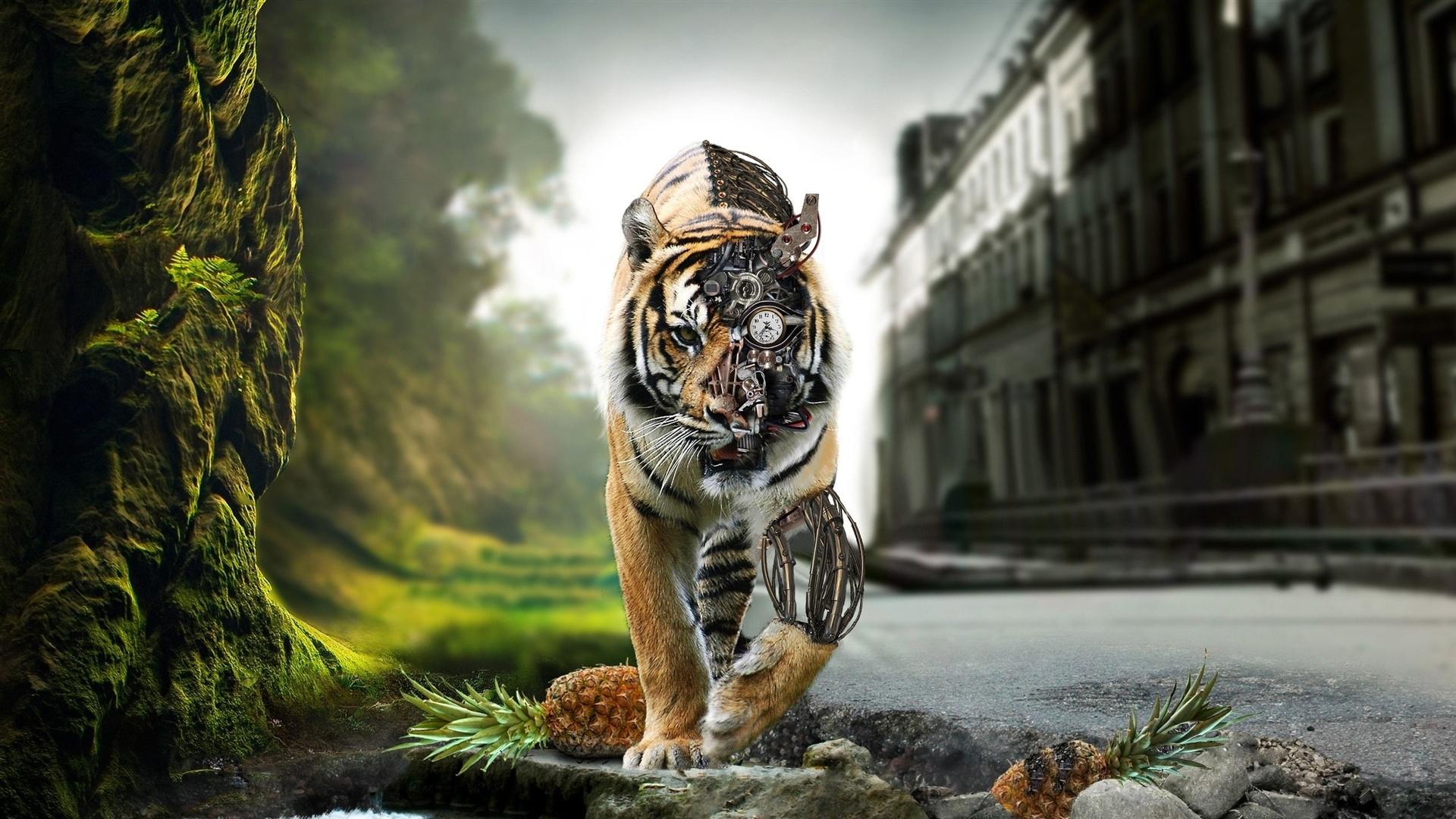 Download Wallpaper 1920x1080 Tiger Robot Full HD Background