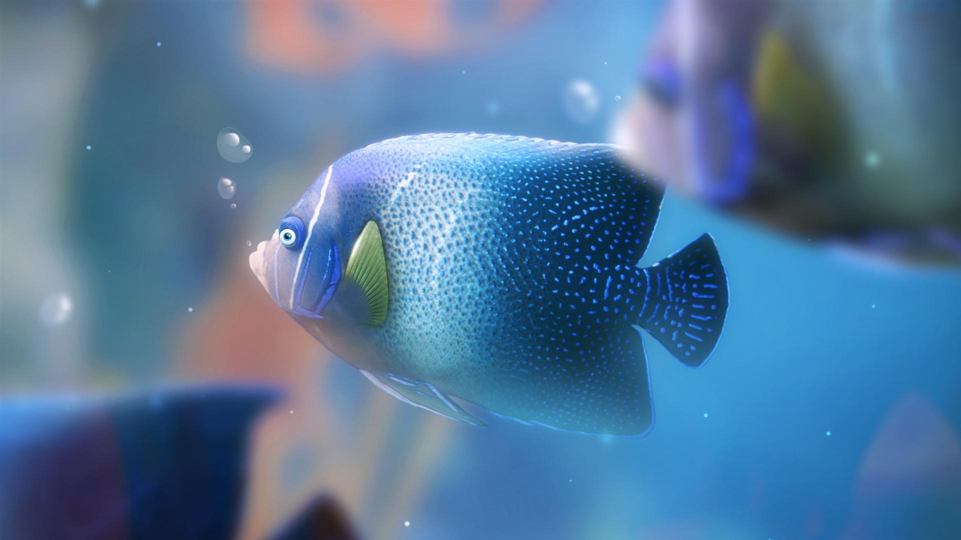 Download wallpaper 1920x1080 blue aquarium fish full hd for Blue fish aquarium