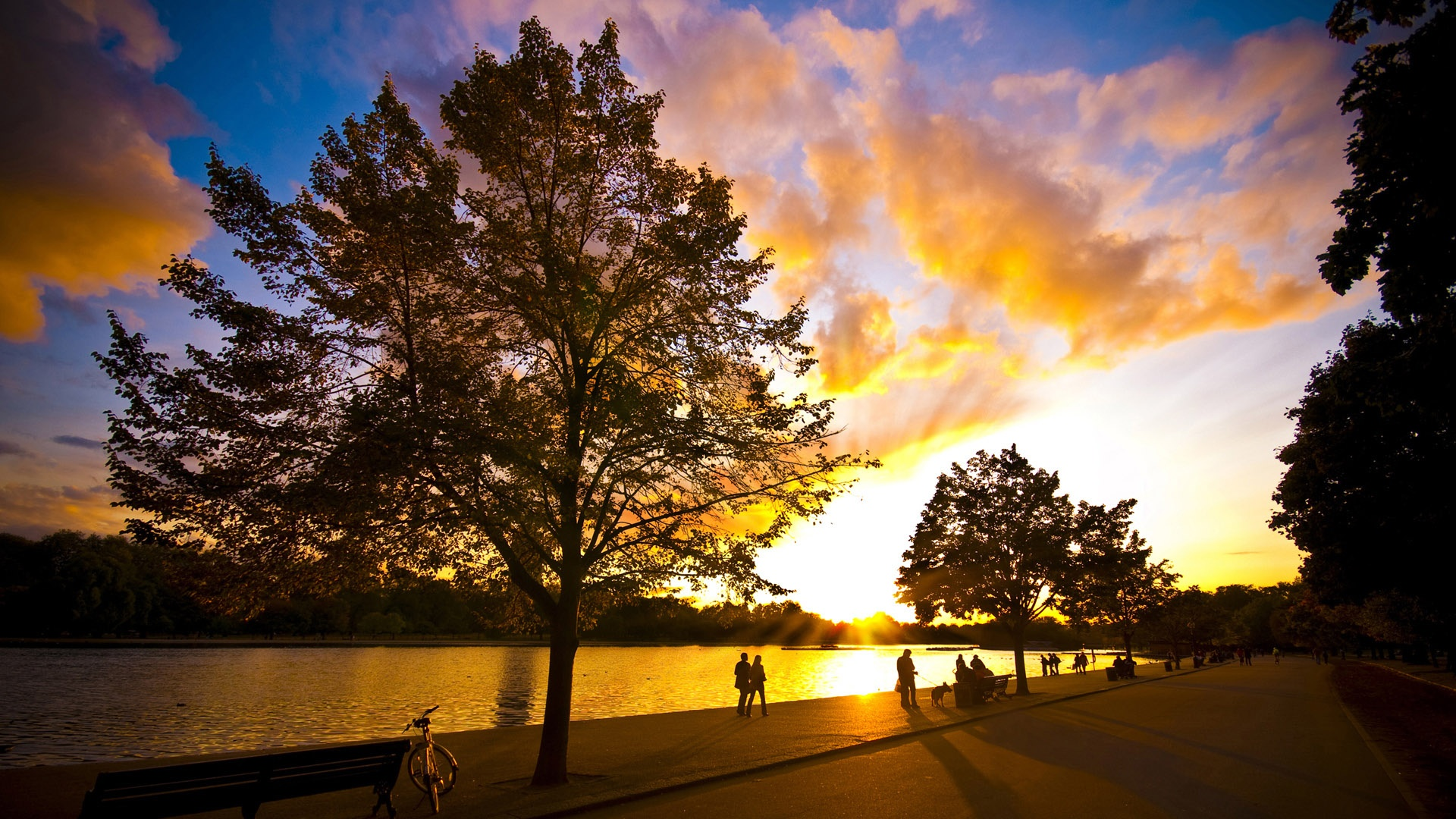 壁紙 湖の日没の夕暮れ 19x1080 Full Hd 2k 無料のデスクトップの背景 画像