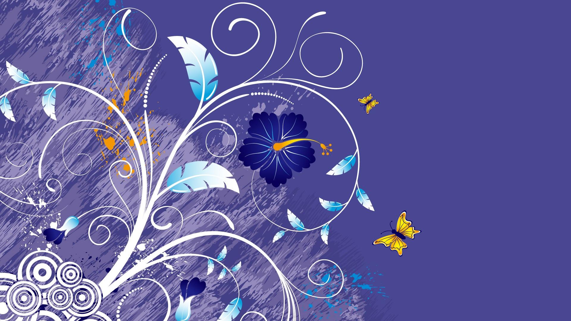 Vector De Fondo Con Flores Y Mariposas Fondos De Pantalla   1920x1080