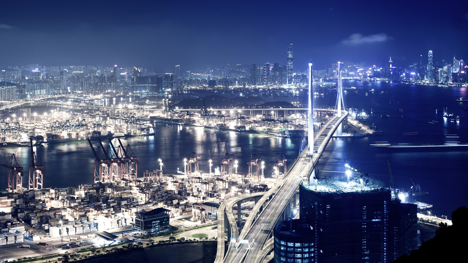 Wallpaper Port City At Night 2560x1600 HD Picture Image