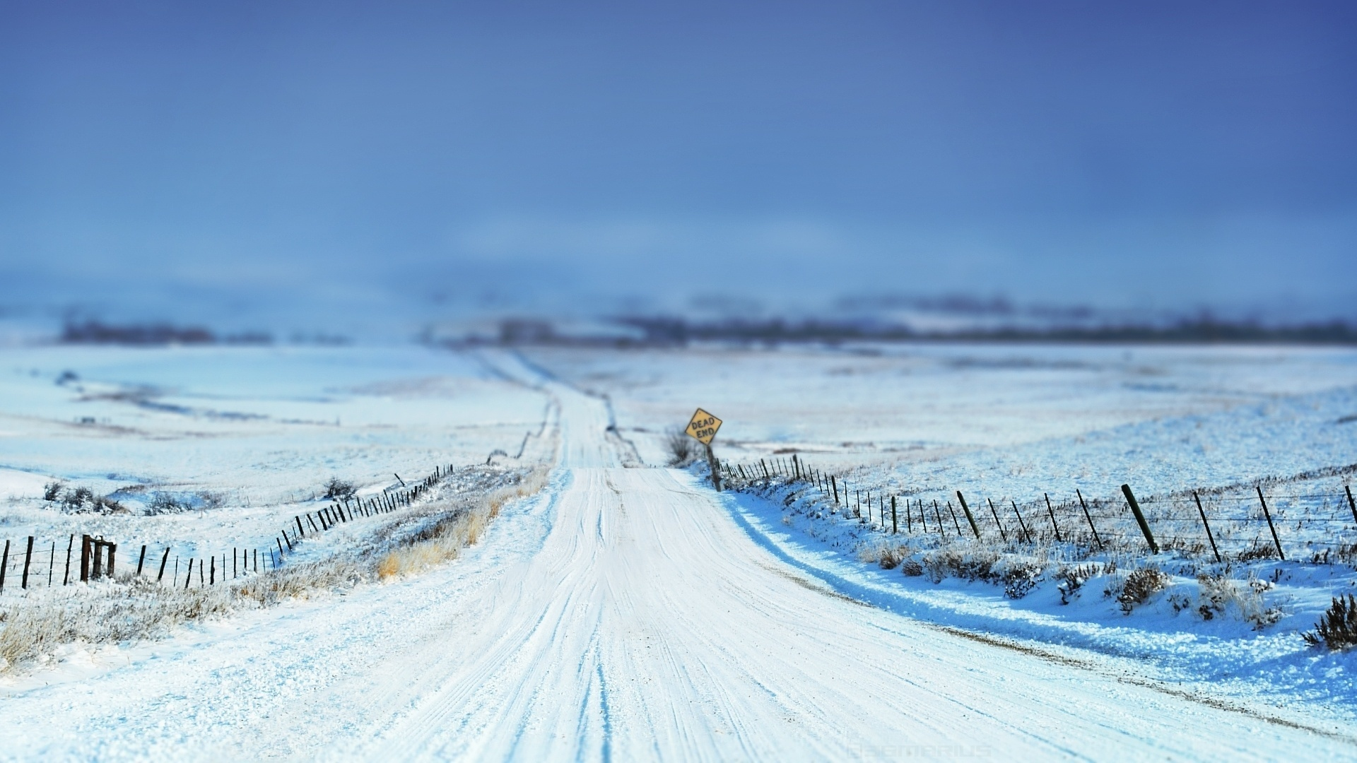 Wallpaper Winter Road 1920x1080 Full HD 2K Picture Image