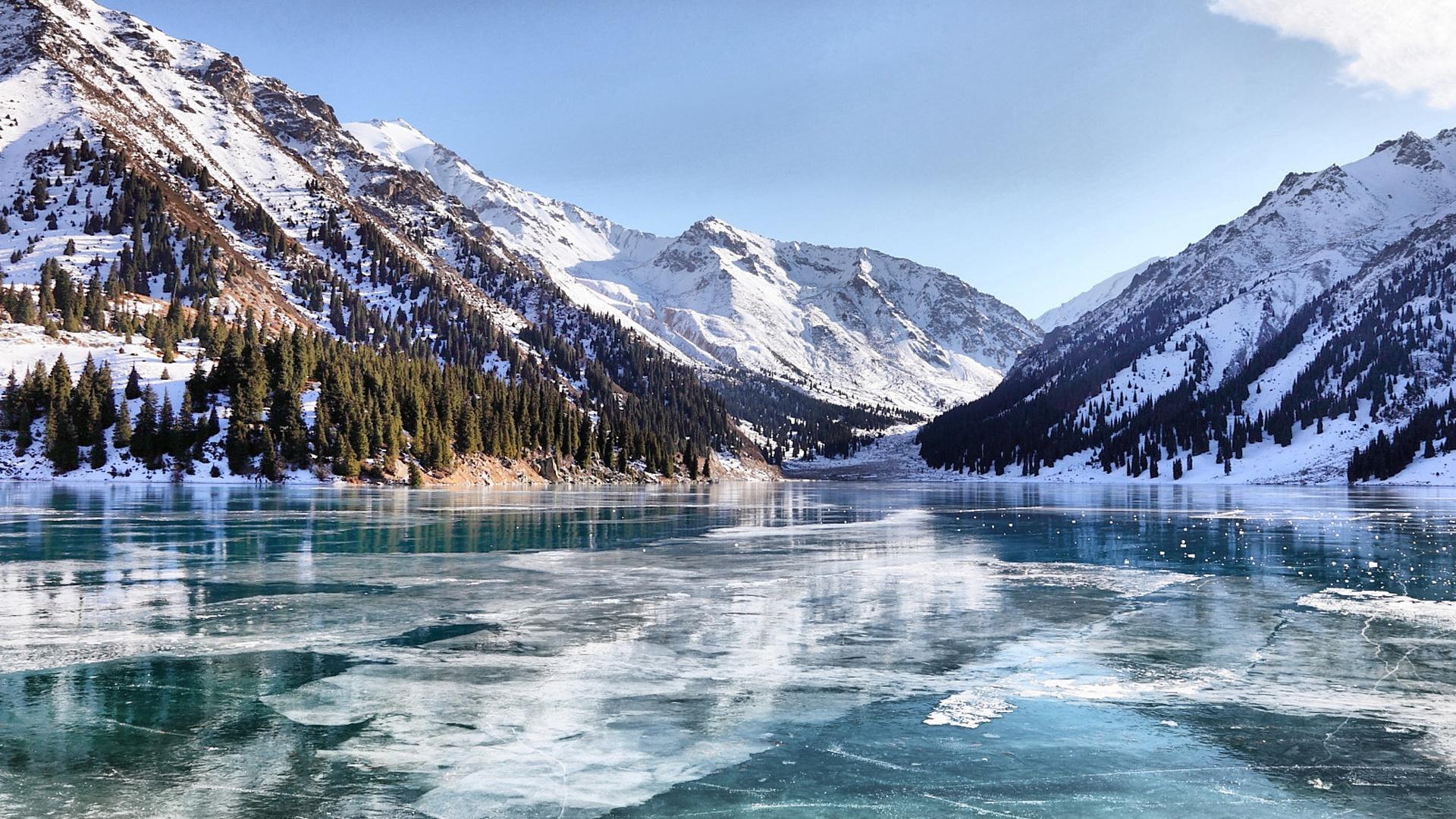 Almaty Winter See 1920x1080 Full Hd 2k Hintergrundbilder Hd