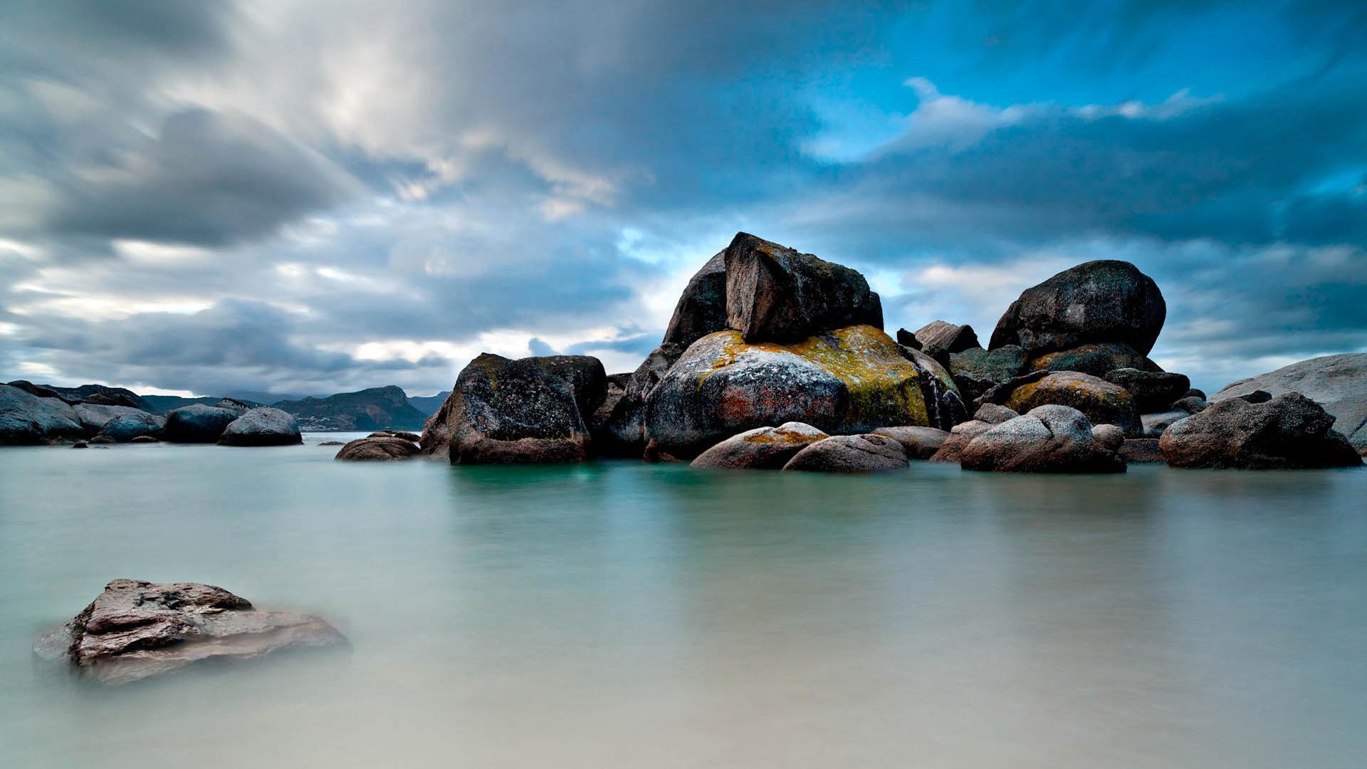 Fondos De Pantalla Rocas En El Mar, Cielo Azul 1920x1080