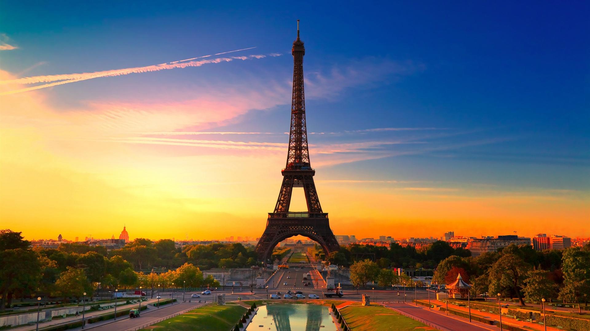 파리 프랑스의 도시, 에펠탑 배경 화면 | 1920x1080 풀 HD ...