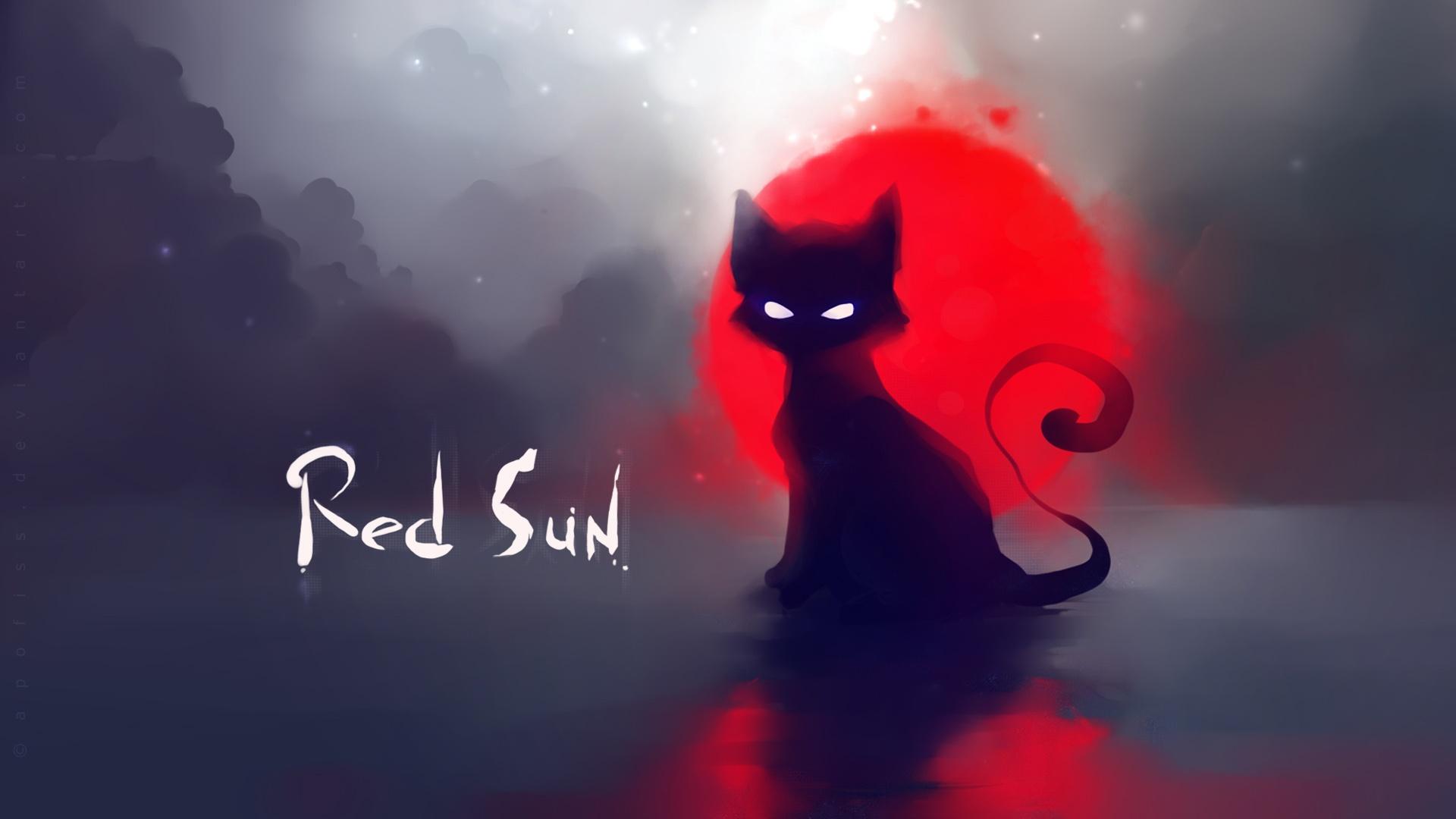 fonds d233cran soleil rouge peinture chat noir 1920x1080