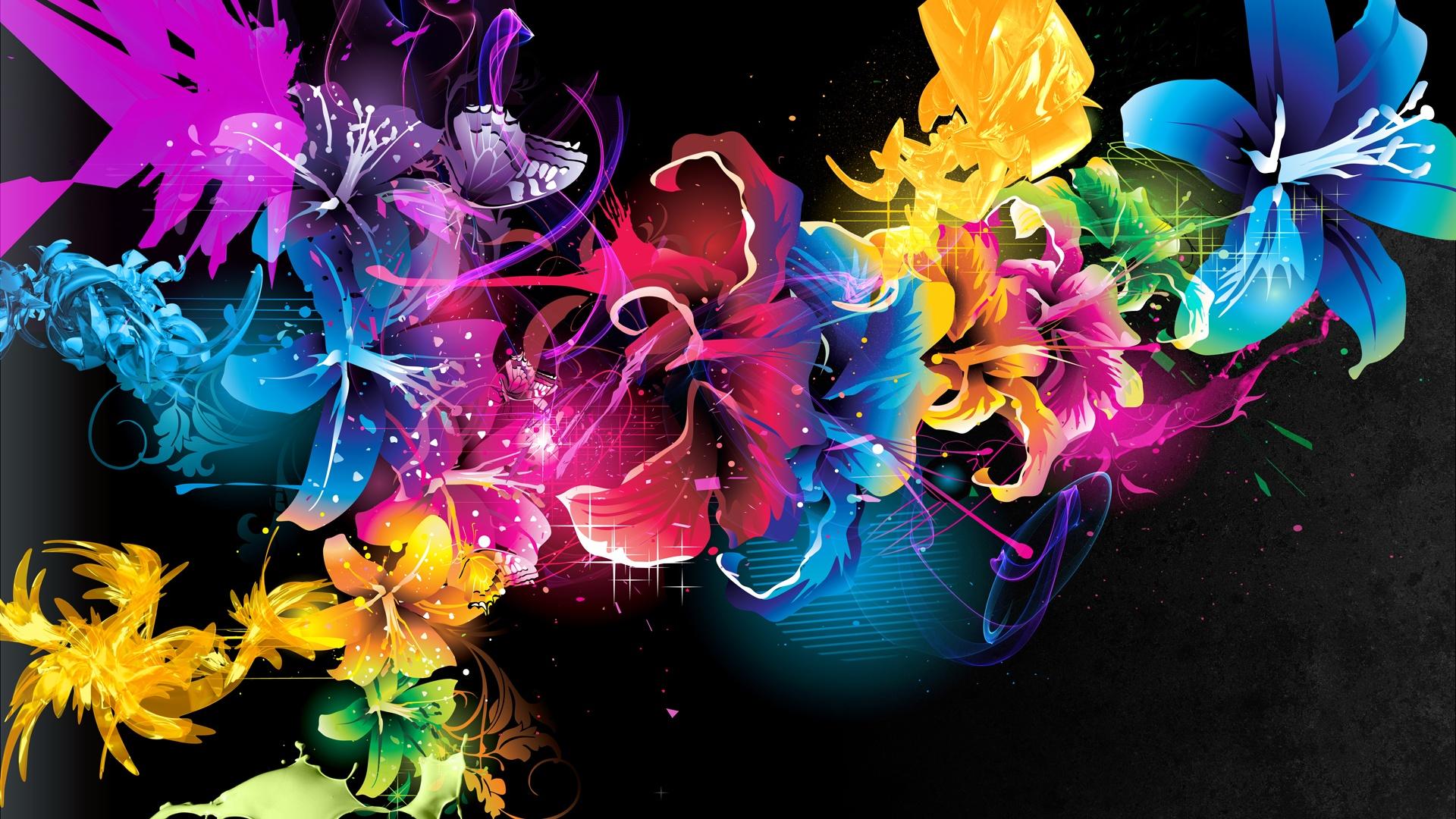 1920x1080 Abstracto Full Hd 1920x1080: Patrones Abstractos Líneas De Colores Las Flores Fondos