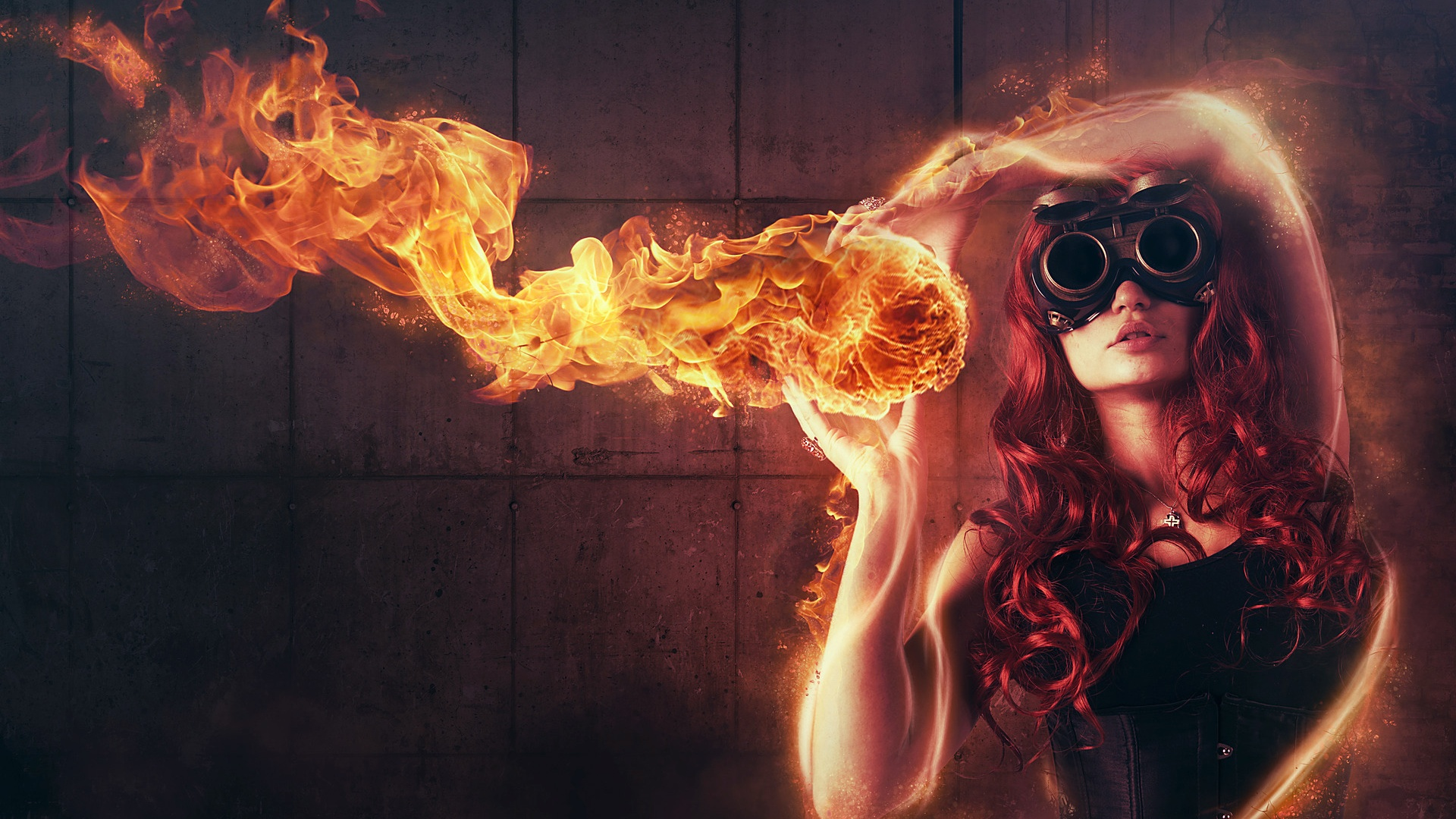 Wallpaper Girl Fire Red Abstract Creative 1920x1200 Hd