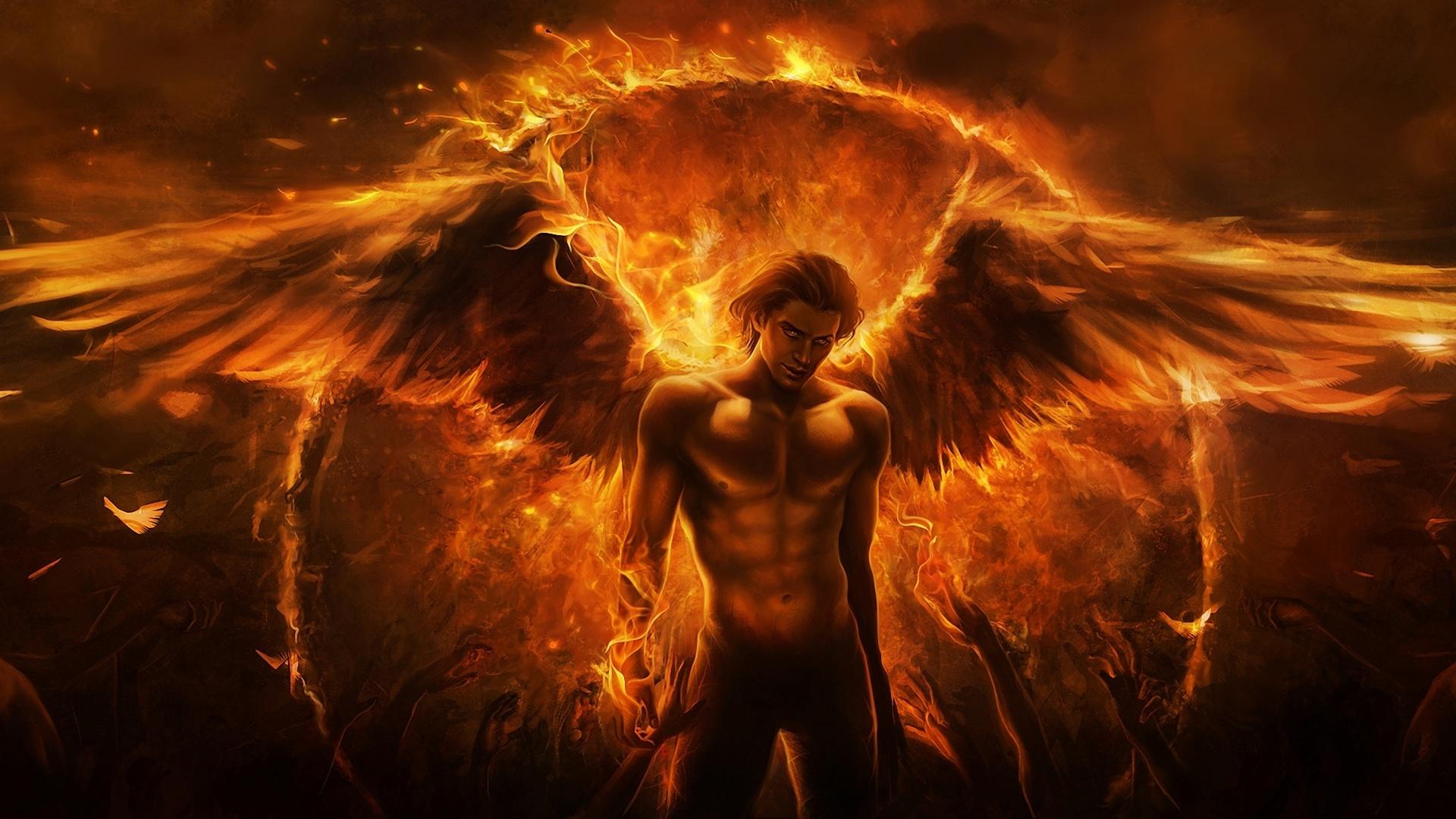 Wallpaper Black Magic Flame Angel 1920x1080 Full HD Picture Image