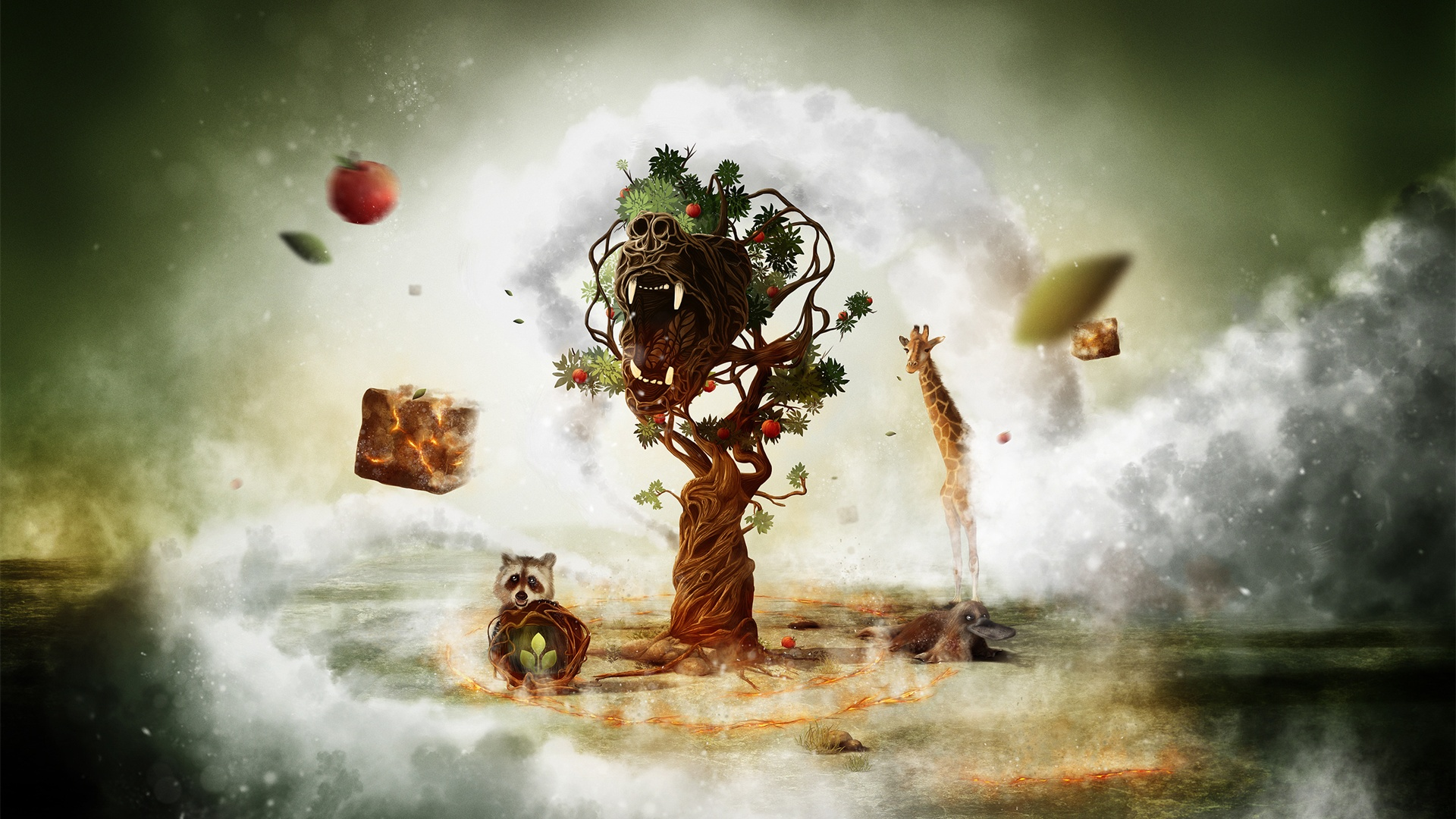 Fantasy art creative animals and tree wallpaper - 1920x1080