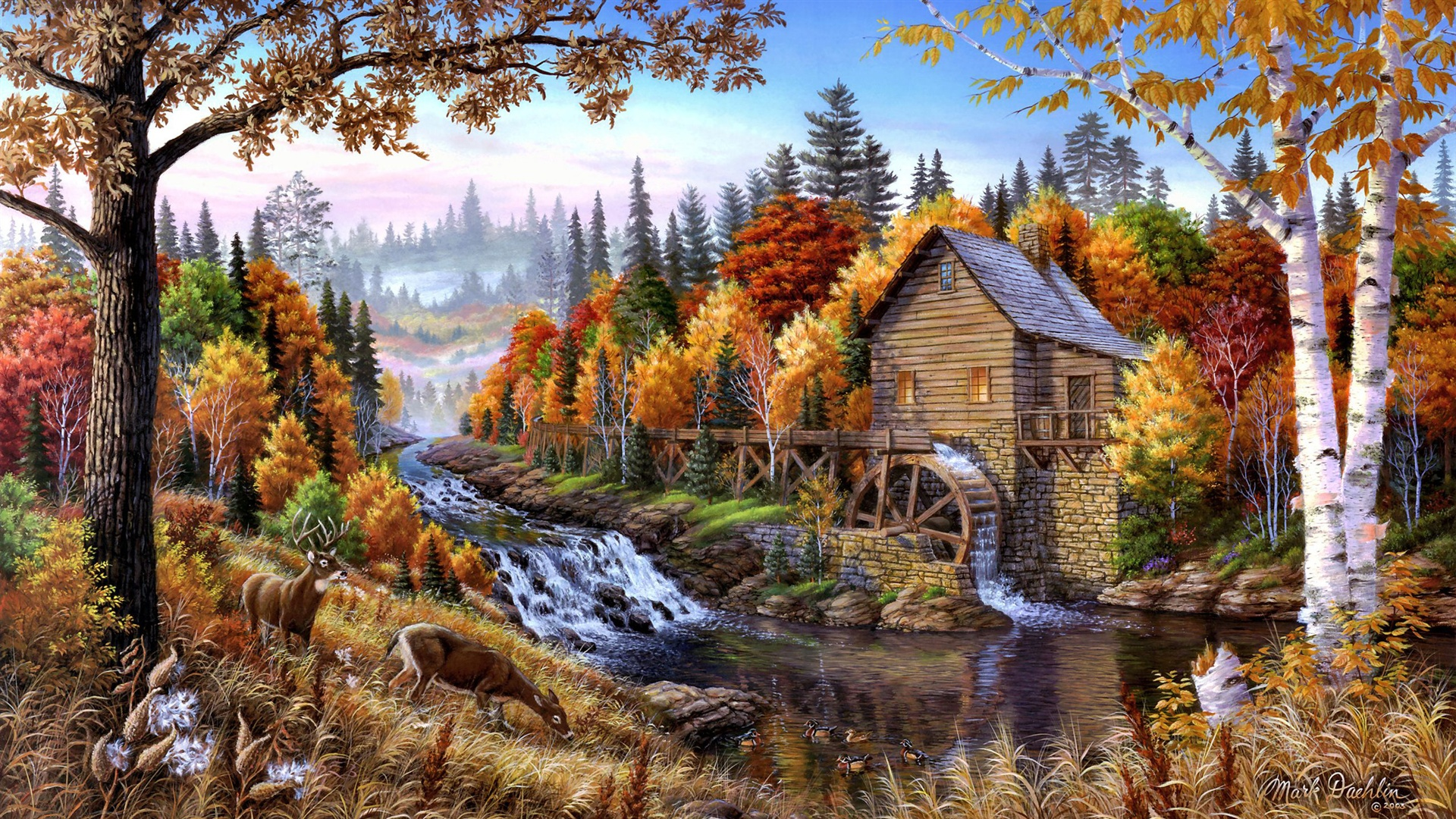 Download wallpaper 1920x1080 home in the forest oil for Oil paintings for the home