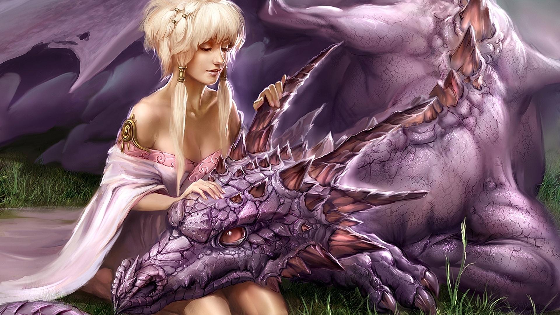 Открытка девушка с драконом