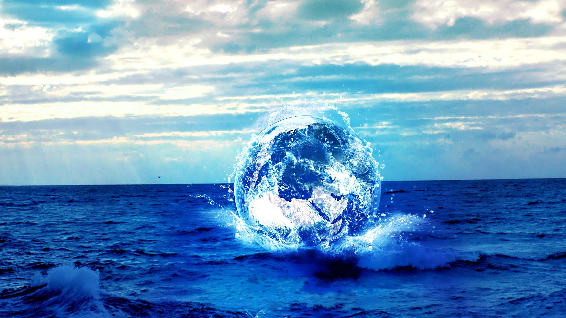 wallpaper sea blue planet creative graphics 1920x1080 full hd