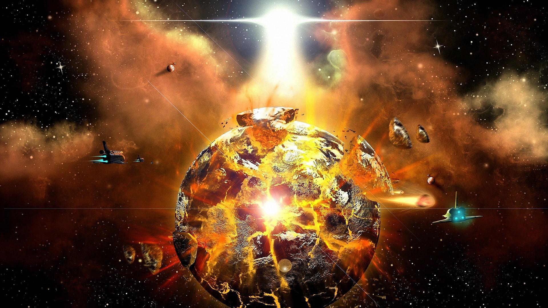 Обои Взрывающаяся планета картинки на рабочий стол на тему Космос - скачать бесплатно