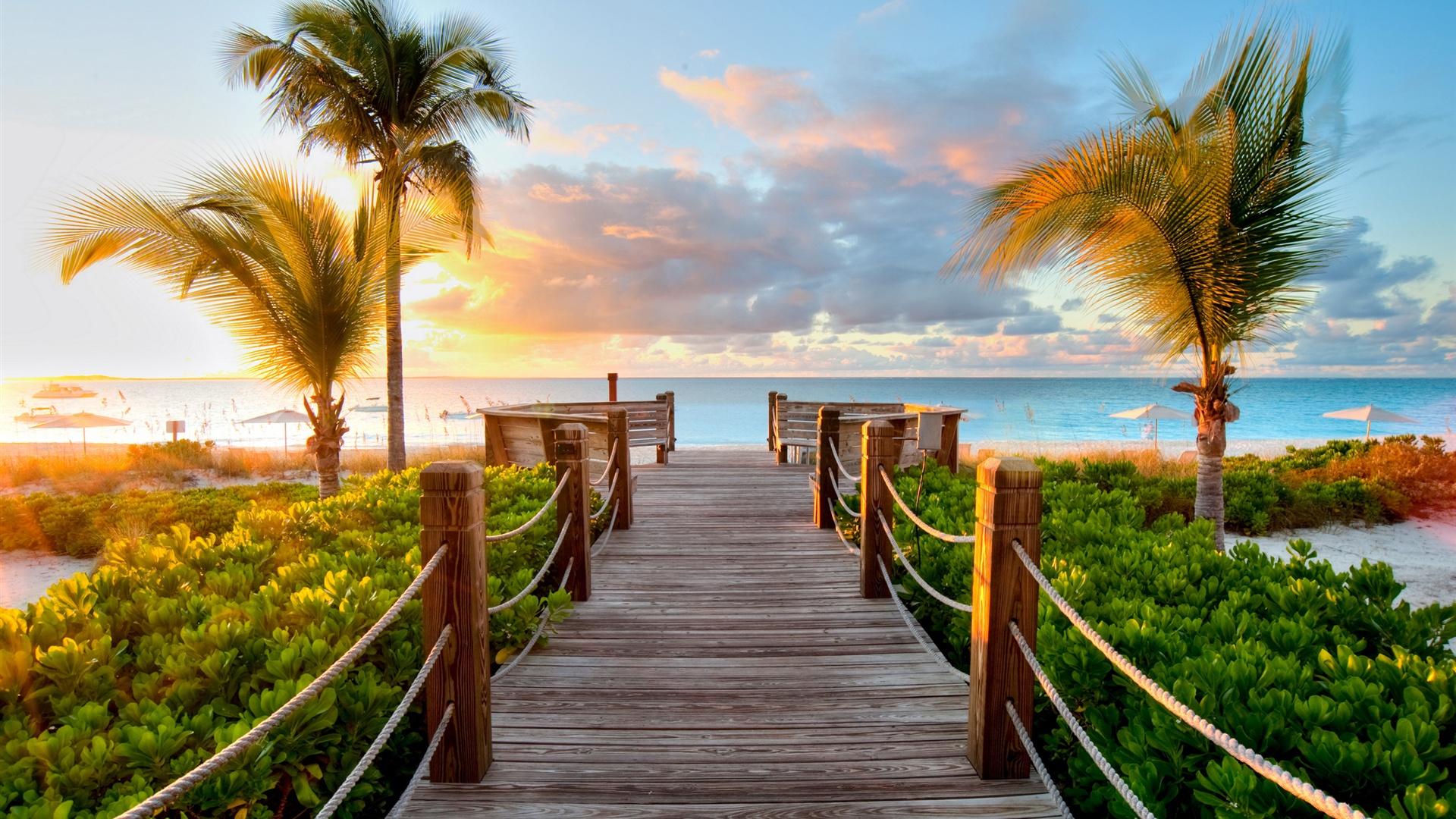 Caribbean Beaches Turks And Caicos Sunset Wallpaper 1920x1080 Full HD