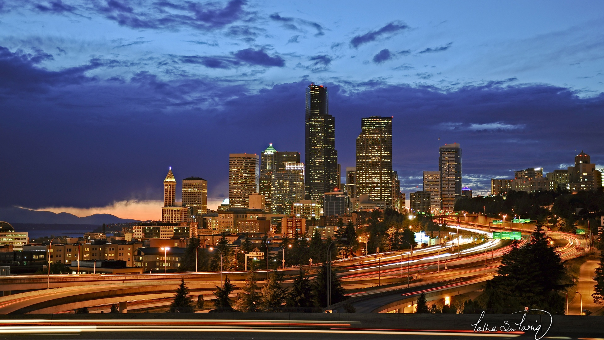 Wallpaper Seattle City Night Lights 1920x1200 Hd Picture Image