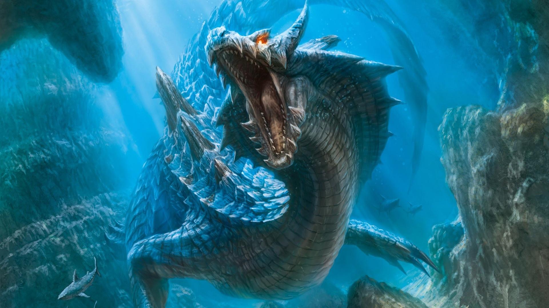 World wallpaper 1920x1080 description dragon in the underwater world