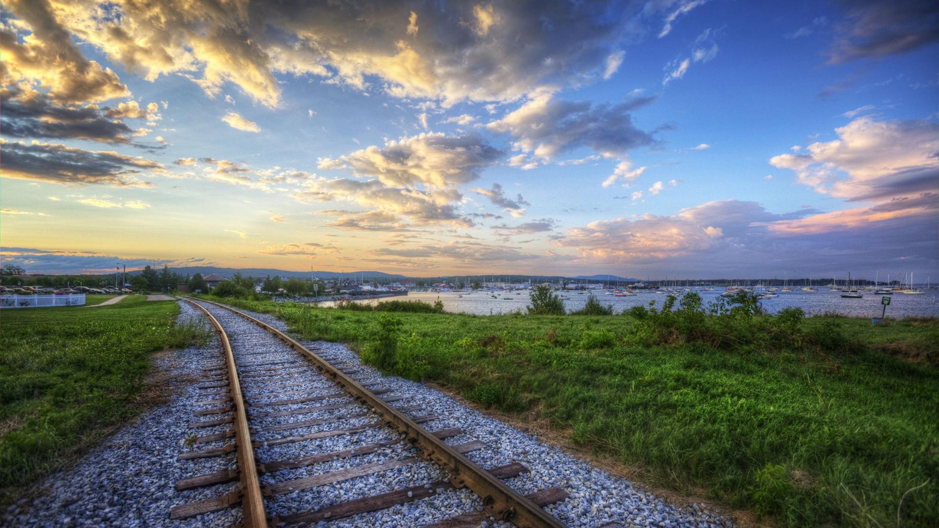 壁紙 夕暮れ時の鉄道 2560x1600 HD 無料のデスクトップの背景, 画像