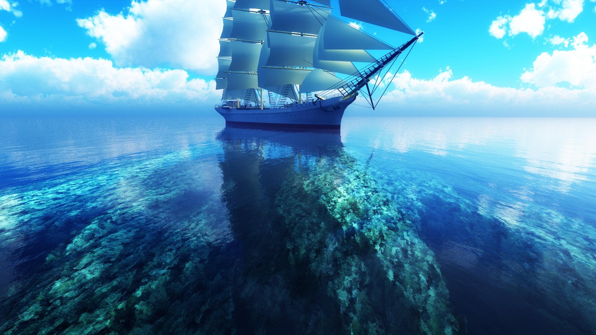 3d Sailboat Blue Sea 1920x1080