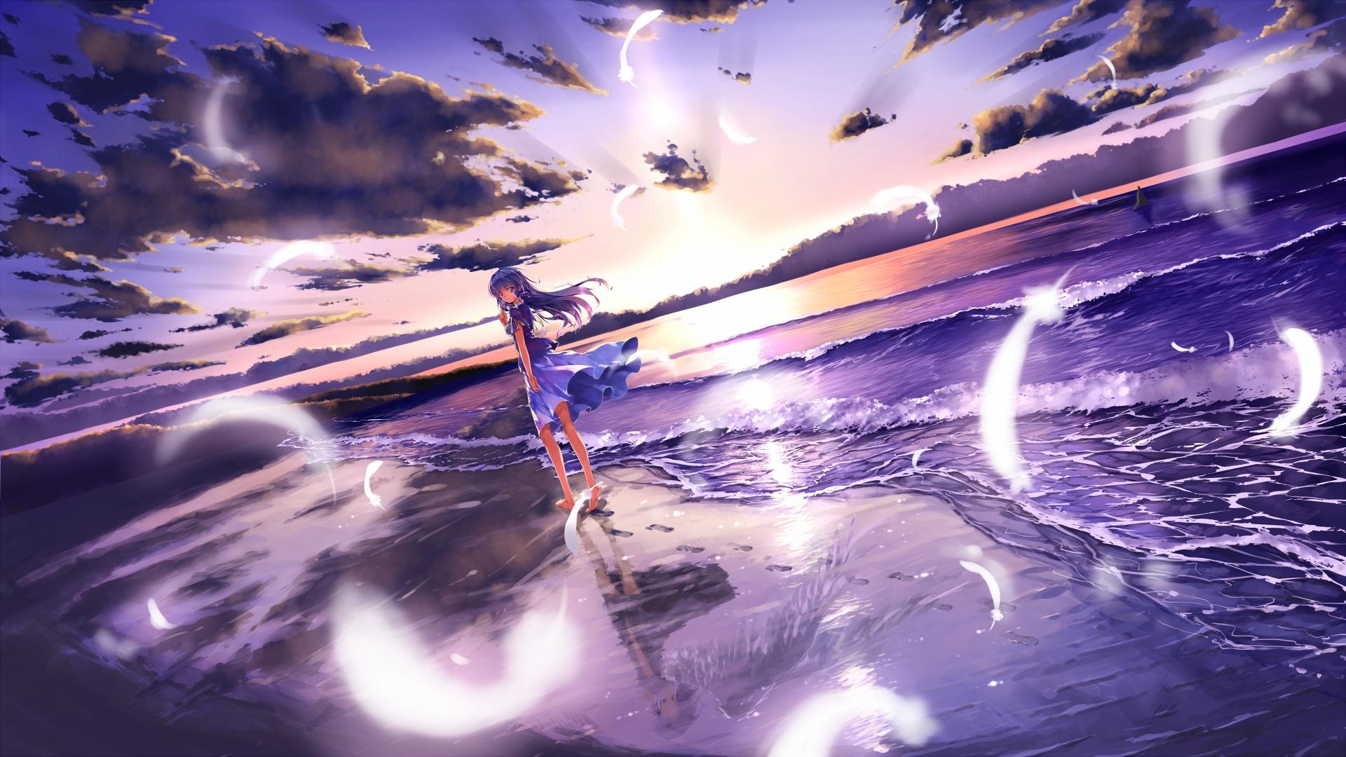 картинки аниме девушек на пляже: