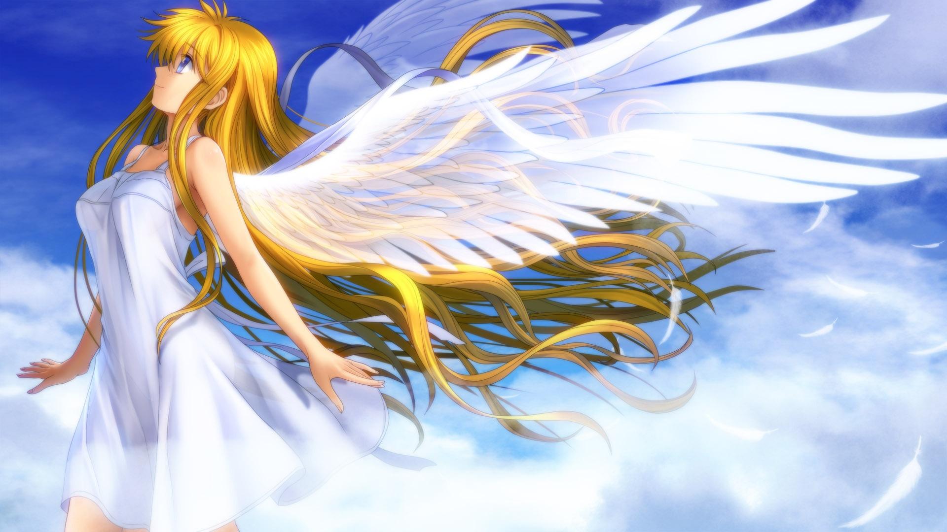 美麗的動漫女孩天使的翅膀白色羽毛 壁紙 - 1920x1080
