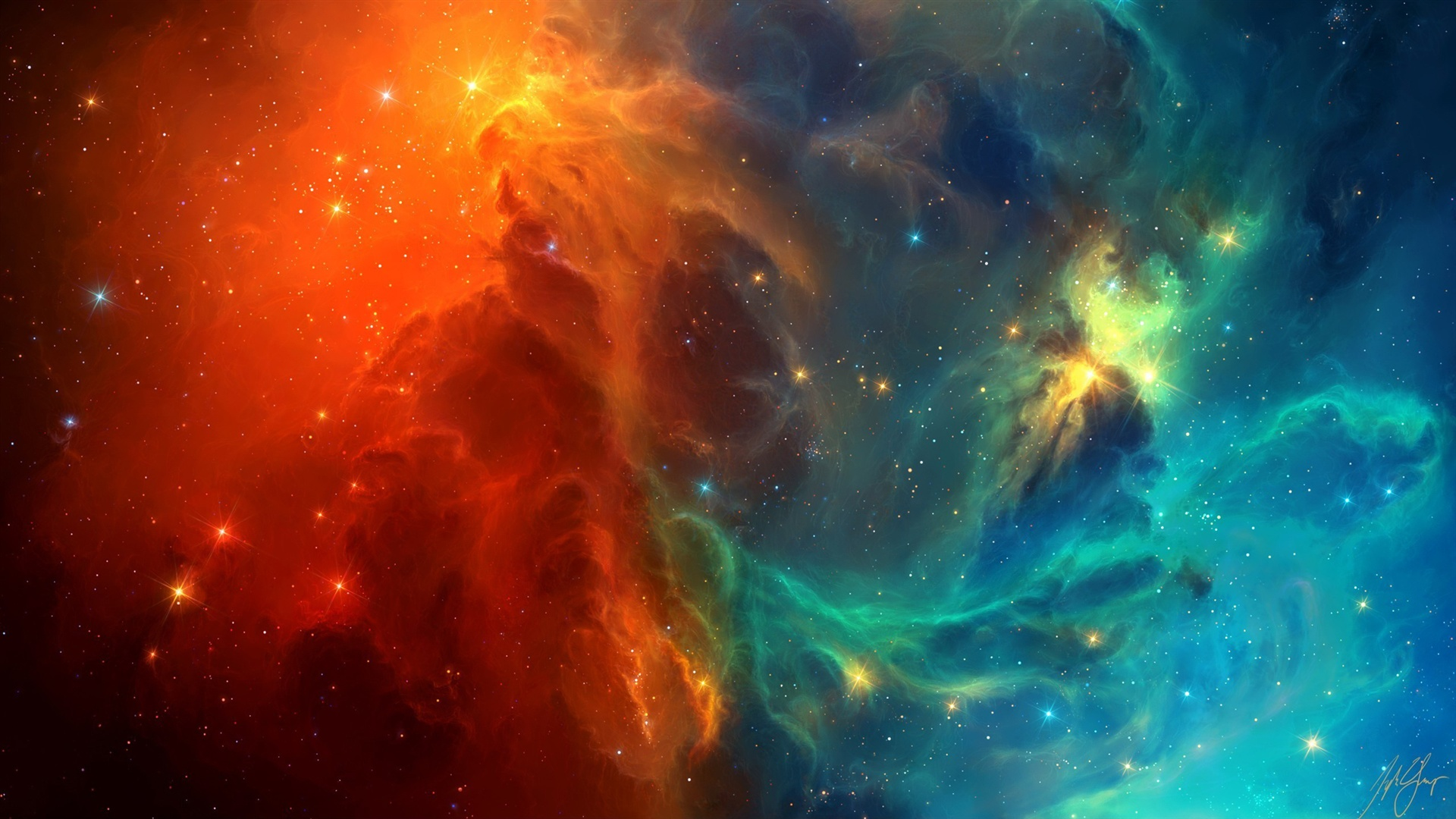 Download Wallpaper 1920x1080 Space nebula, blue and red ...