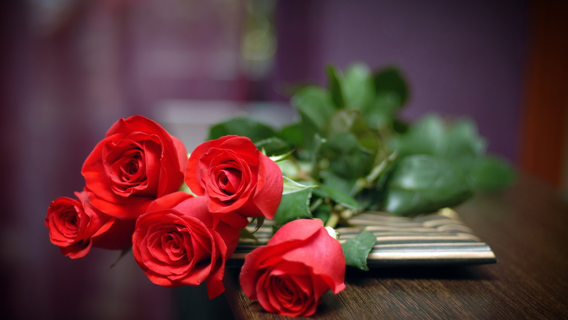 Gift Of Love Wallpaper : Download Wallpaper 1920x1080 A Gift of Love, five red roses Full HD Background