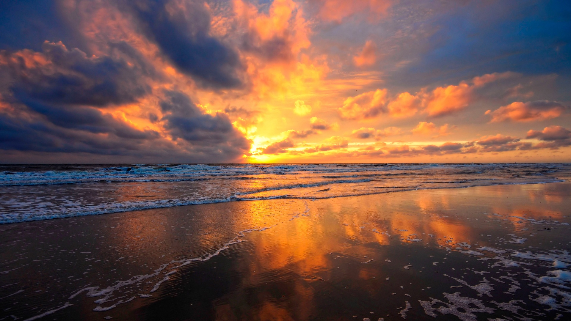 Wallpaper Beach Sea Water Fire Red Clouds Sky Beautiful
