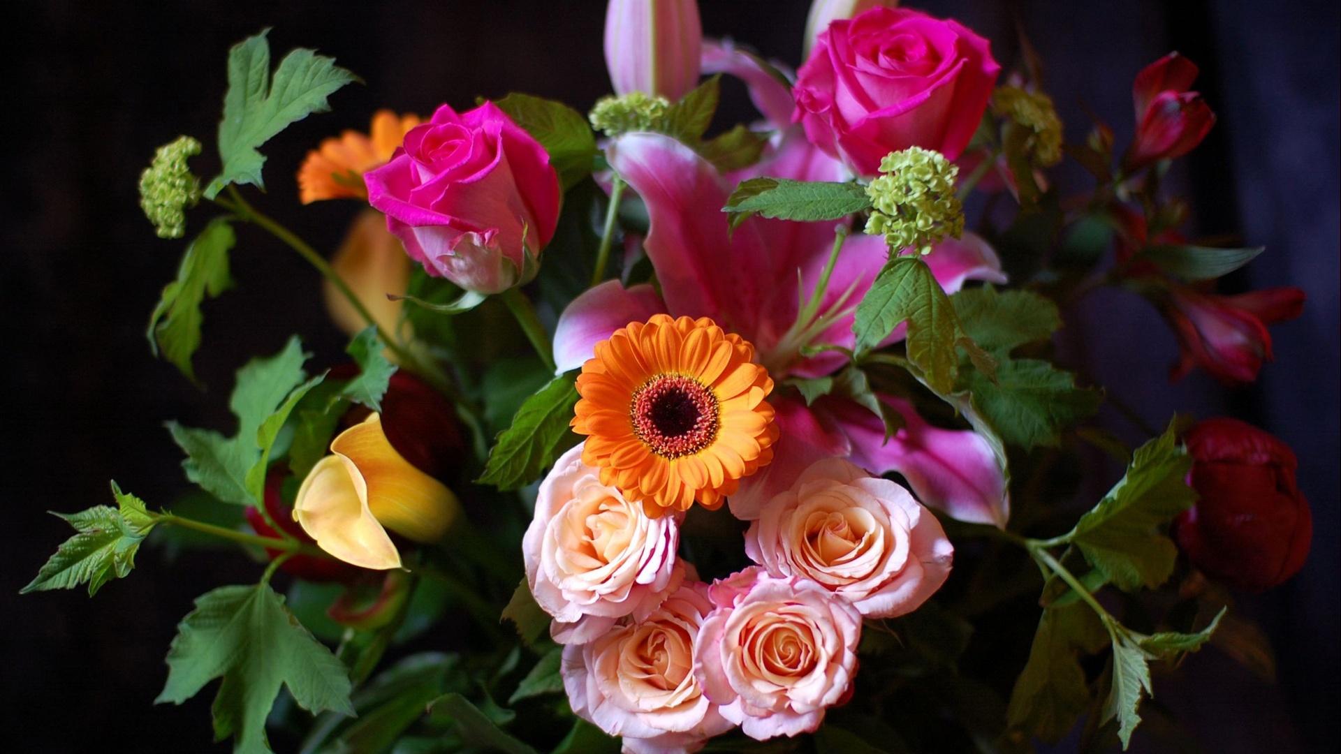 обои на рабочий стол букеты розы герберы лилии гвоздики № 172316 бесплатно