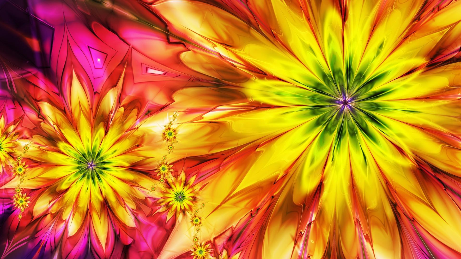 1920x1080 Abstracto Full Hd 1920x1080: Brillantes Flores De Colores Abstractos Fondos De Pantalla
