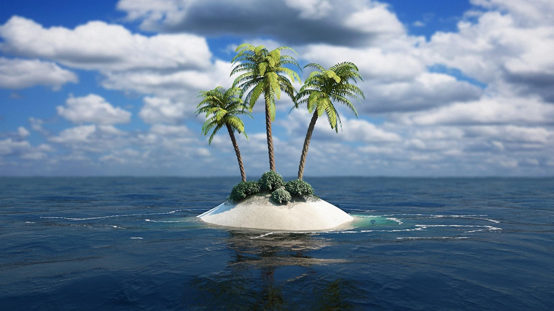 Fonds d 39 cran le d serte trois de l 39 le des palmiers for Fond ecran 4k