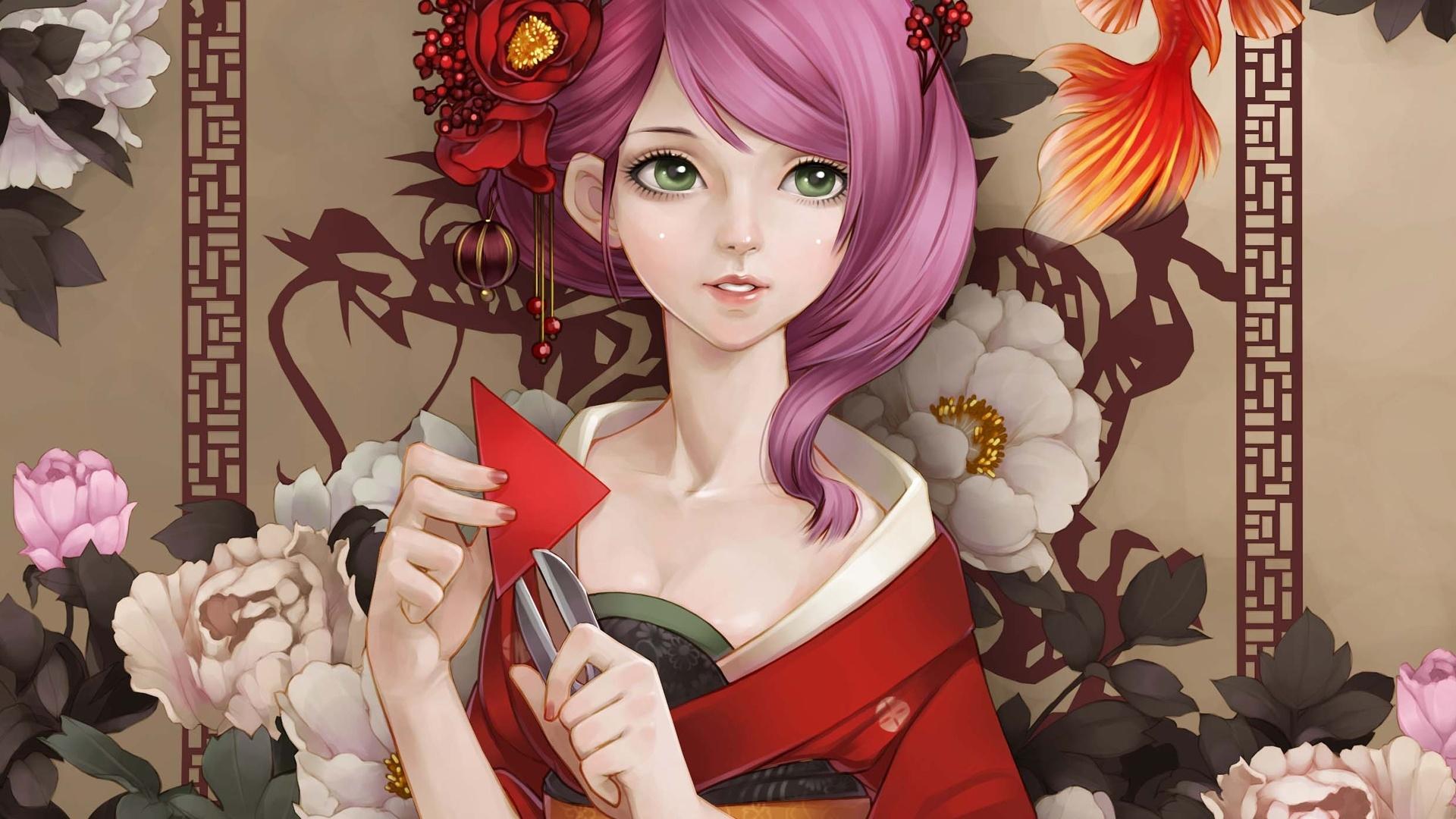 Sch 246 Ne Kimono Japanische Anime M 228 Dchen Rosa Haare Gr 252 Ne