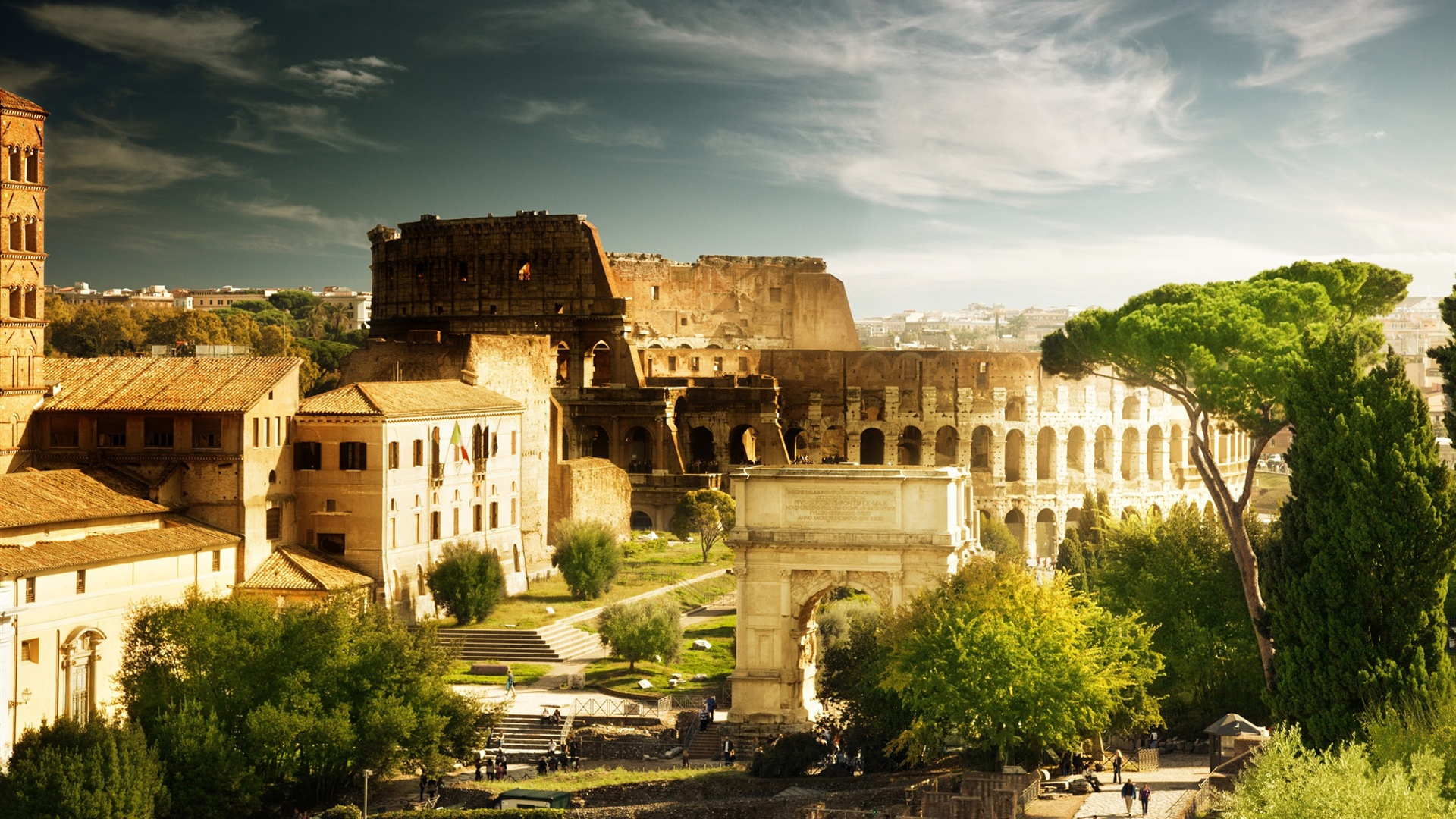 Download Wallpaper 1920x1080 Colosseum, Italy Rome, Arch