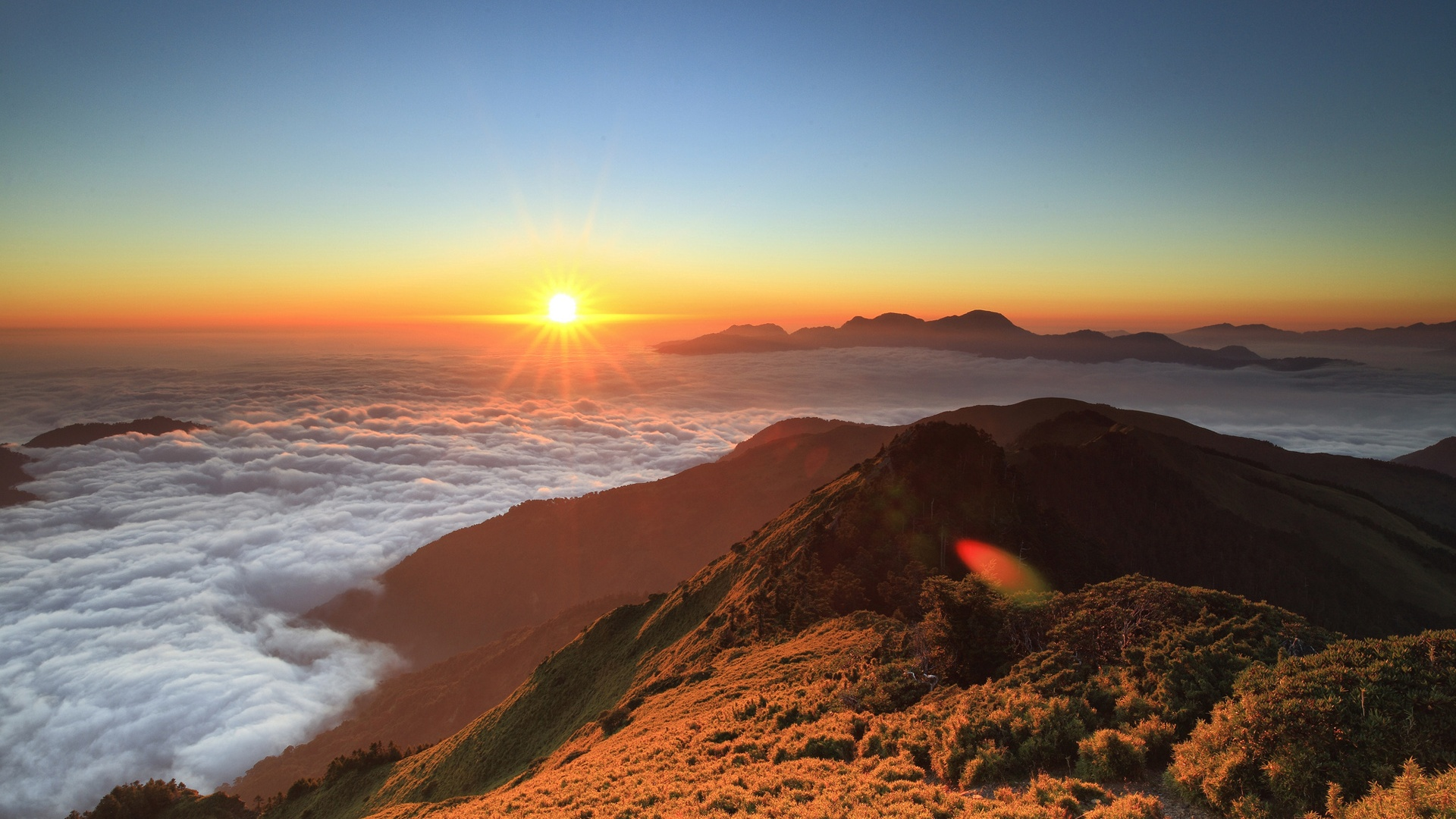 Fantastic Wallpaper Mountain Sun - High-altitude-mountain-sunrise-floating-clouds-sun_1920x1080  Collection_924751.jpg