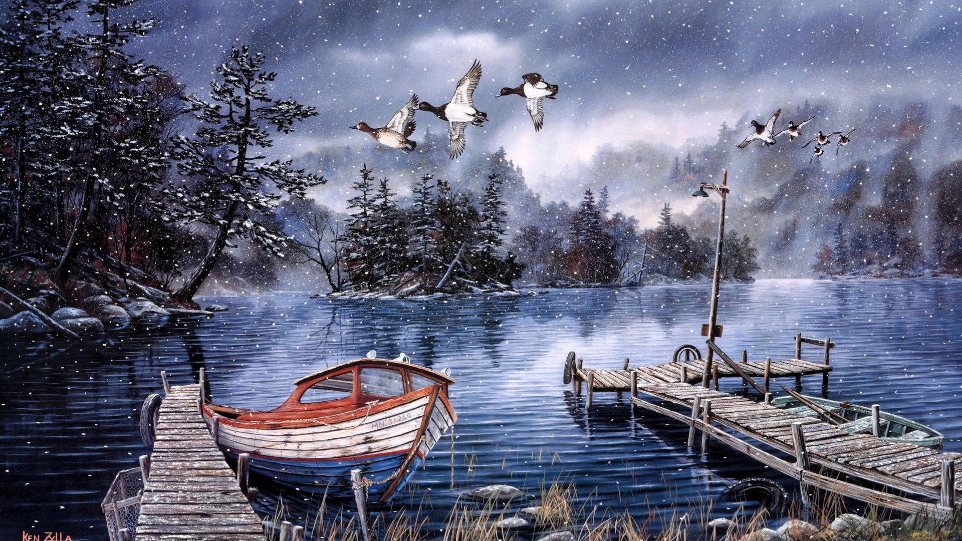 Peinture 224 L Aquarelle Lac Et For 234 T Hiver Neige Dock