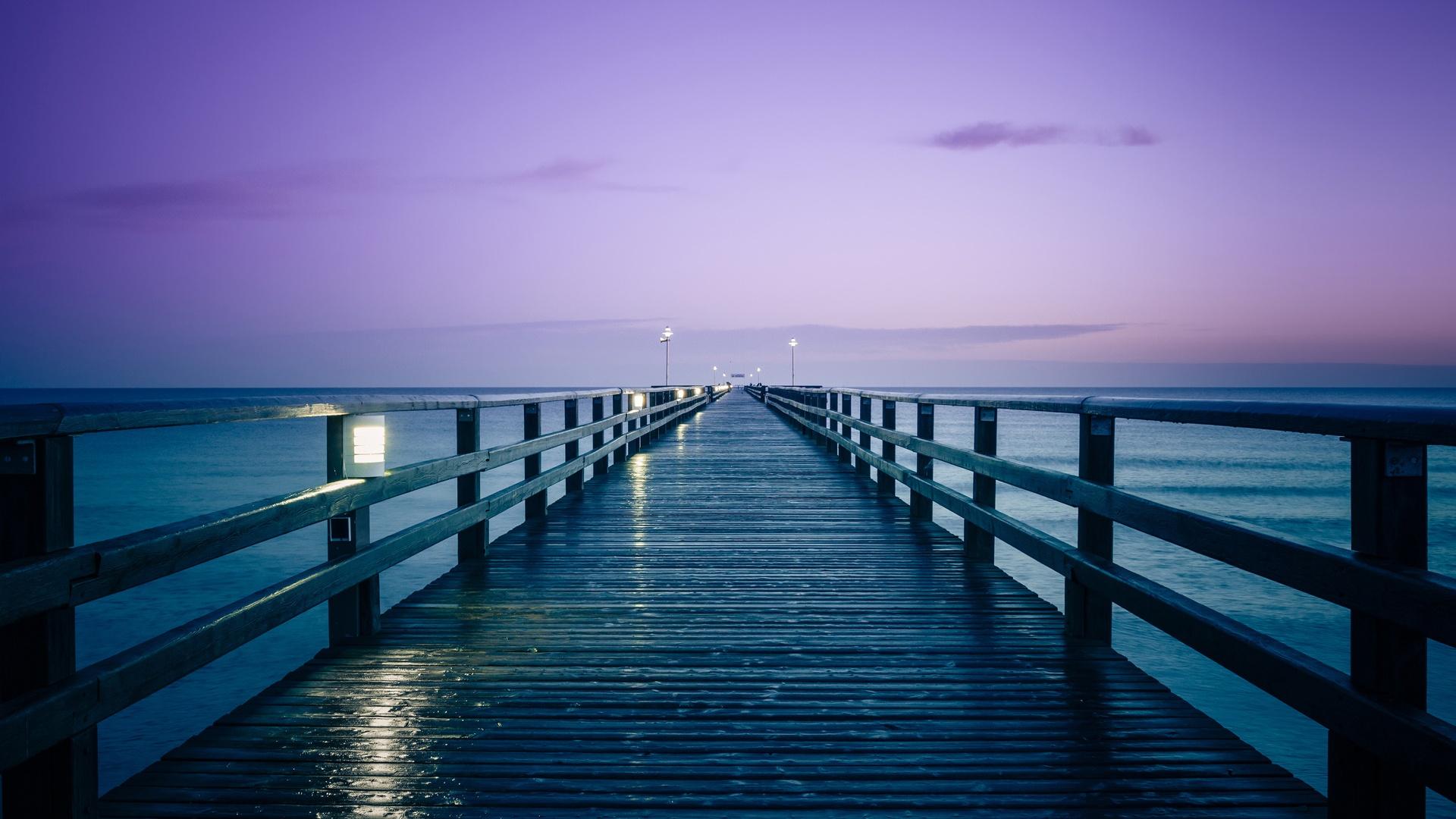 Alemania, Mar Báltico, muelle, salida del sol, mañana ...