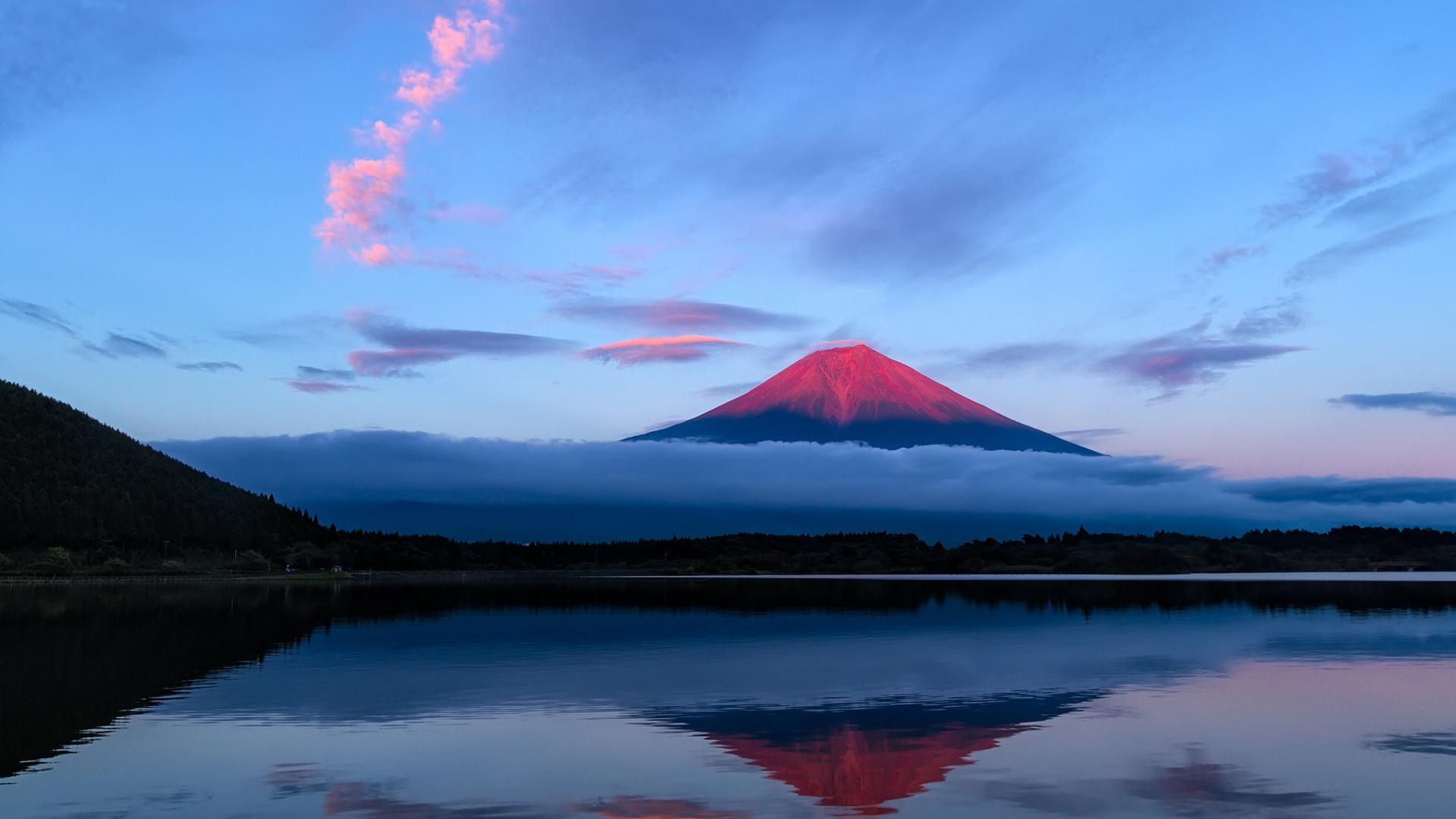 日本、富士山、夜、空、湖、反射、青 壁紙 - 1920x1080 ...