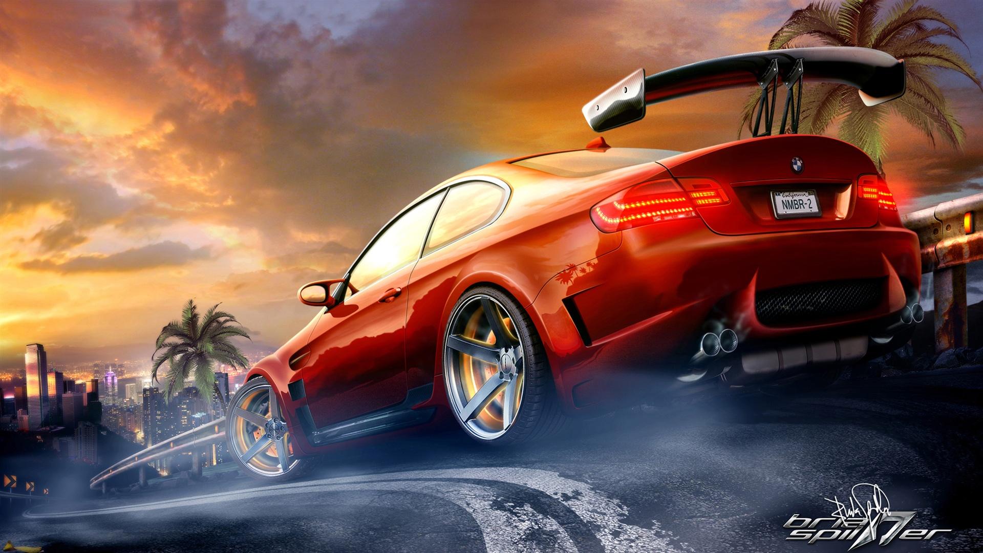 Fonds d 39 cran red bmw m3 voiture de sport dans la course for Fond ecran voiture sport