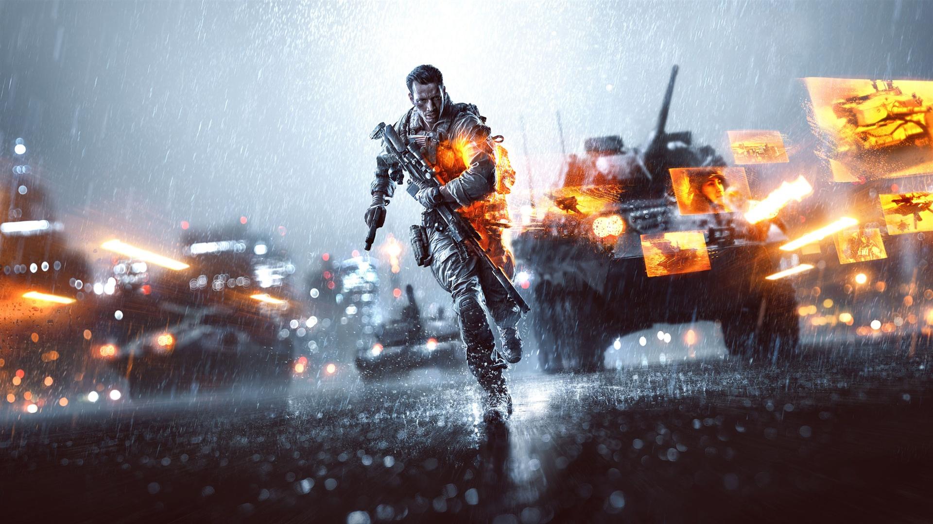 Battlefield4の雨の兵士と戦車