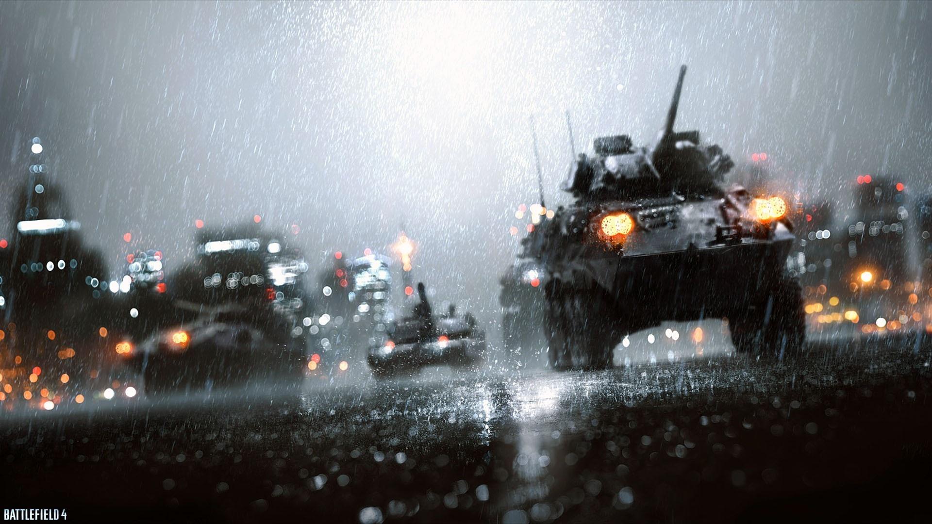 Battlefield4の雨の戦車