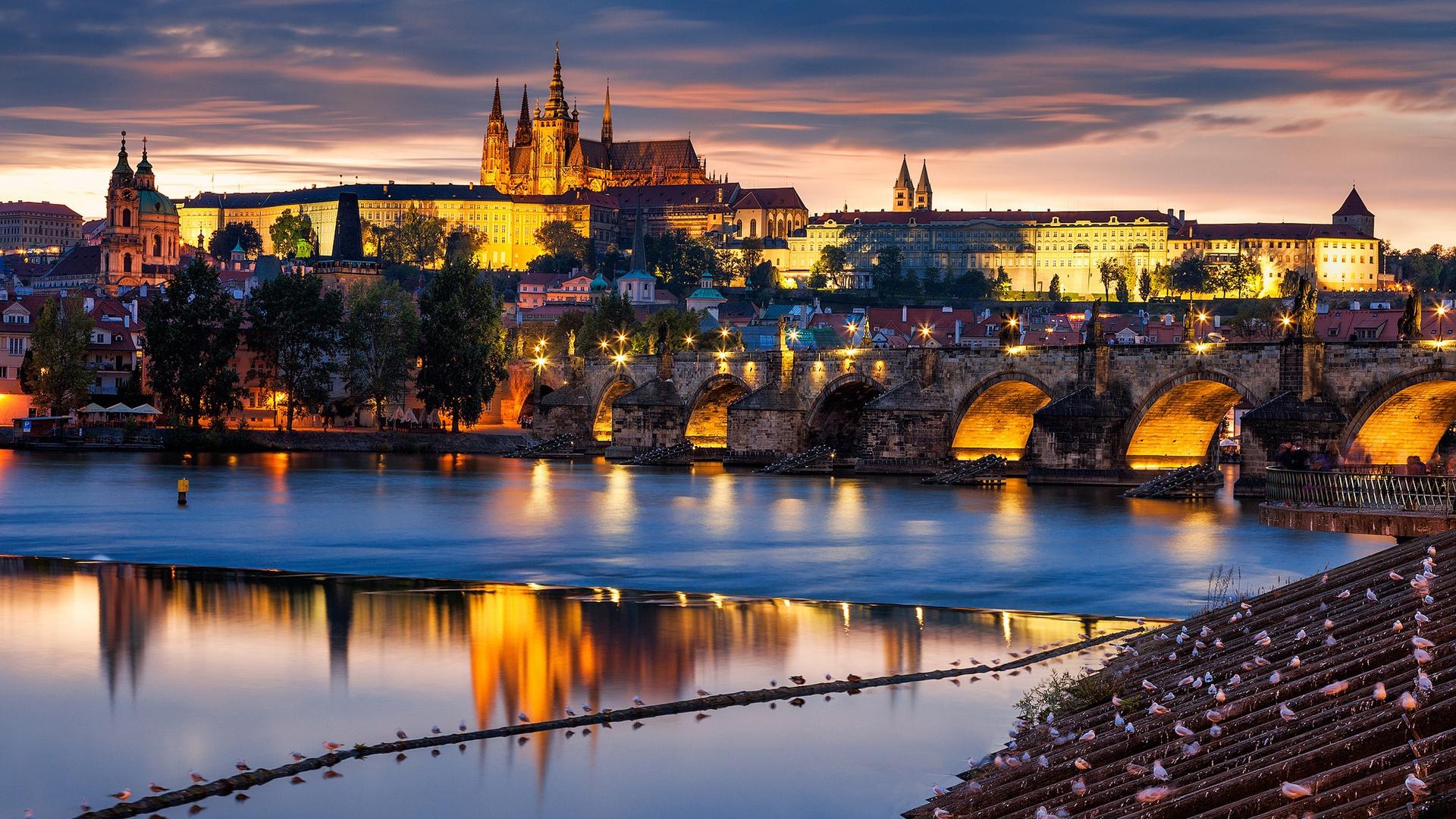 Prague Czech Republic  city photos gallery : Prague Czech Republic city at evening bridge river Vltava 1920x1080 ...