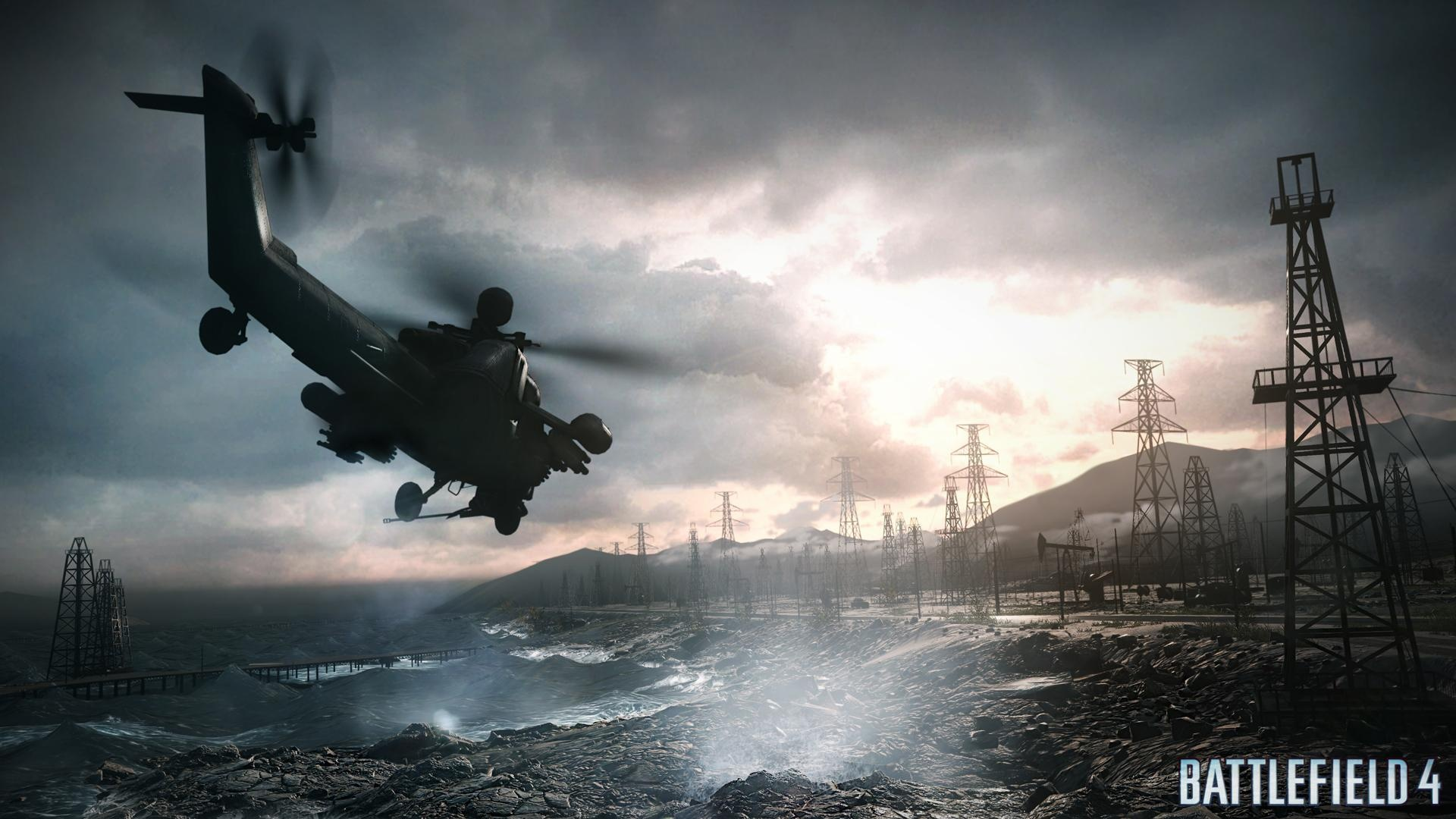 Battlefield4のヘリコプターと鉄塔