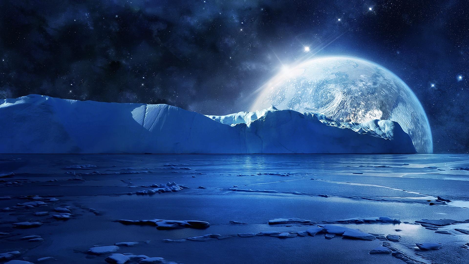 Blue Sea Agua Helada Y Fr&237a Noche Los Planetas Las Estrellas Fondos De Pantalla  1920x1080