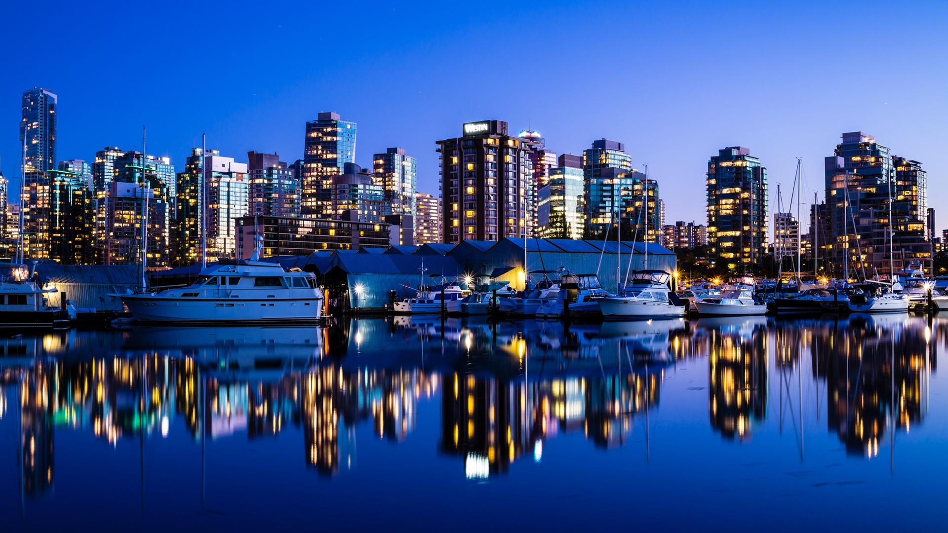 Download Wallpaper 1920x1080 Vancouver Canada City Night