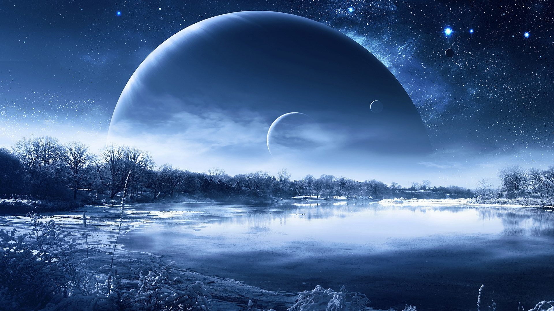 Wallpaper Winter snow lake trees, planets in the sky ...