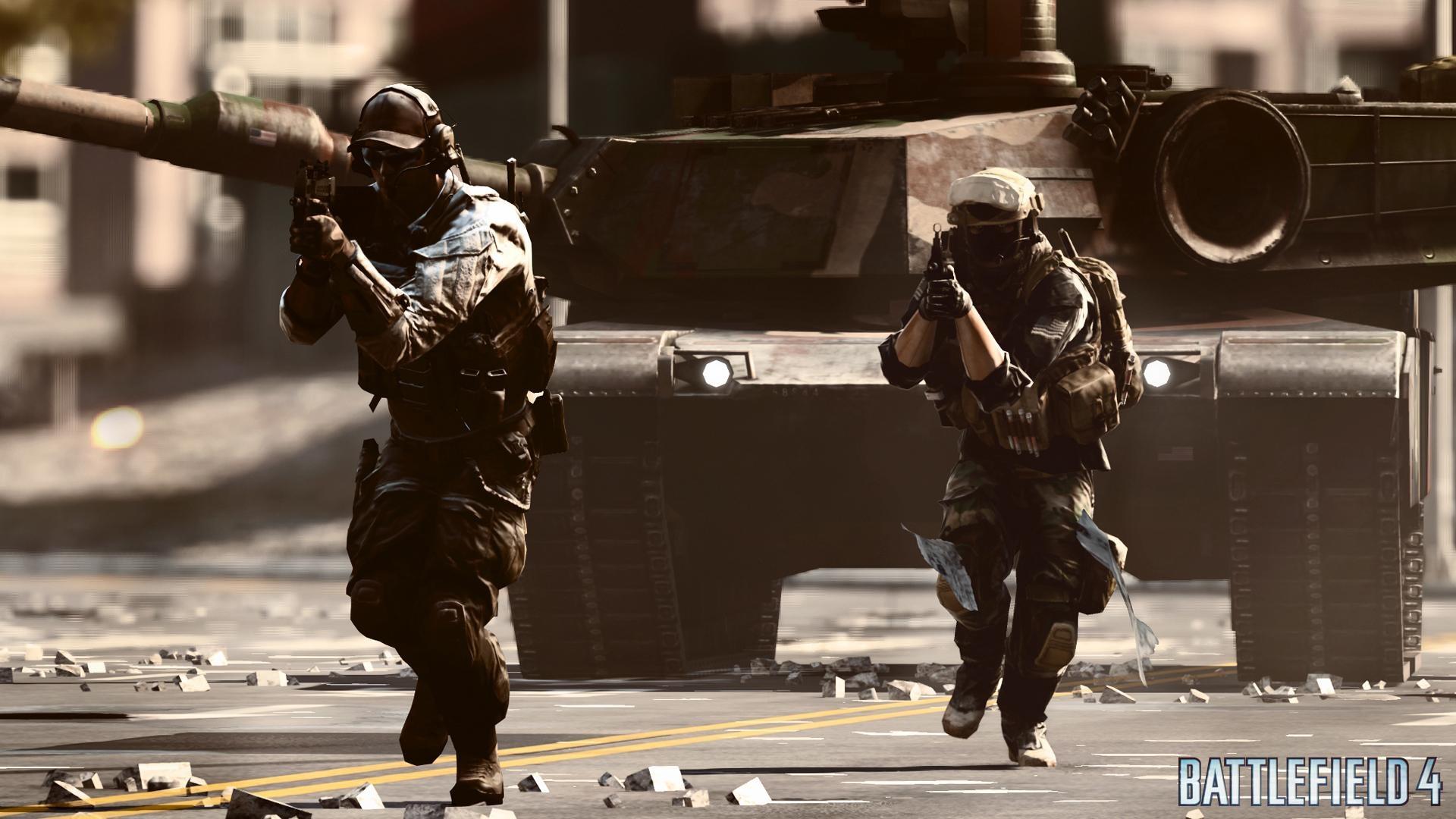 Battlefield4の戦車の前の兵士